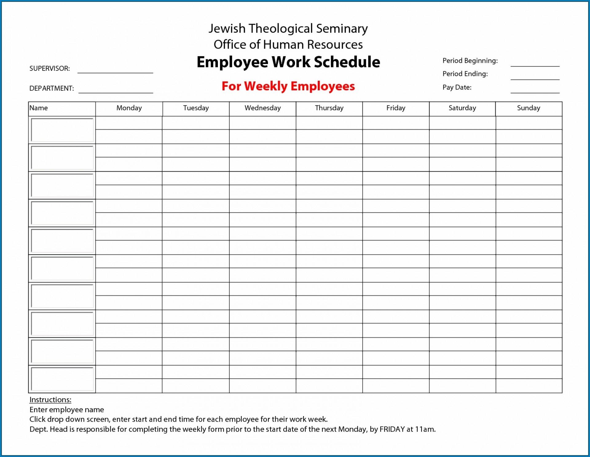 016 Free Weekly Work Schedule Template Word Employee Sample