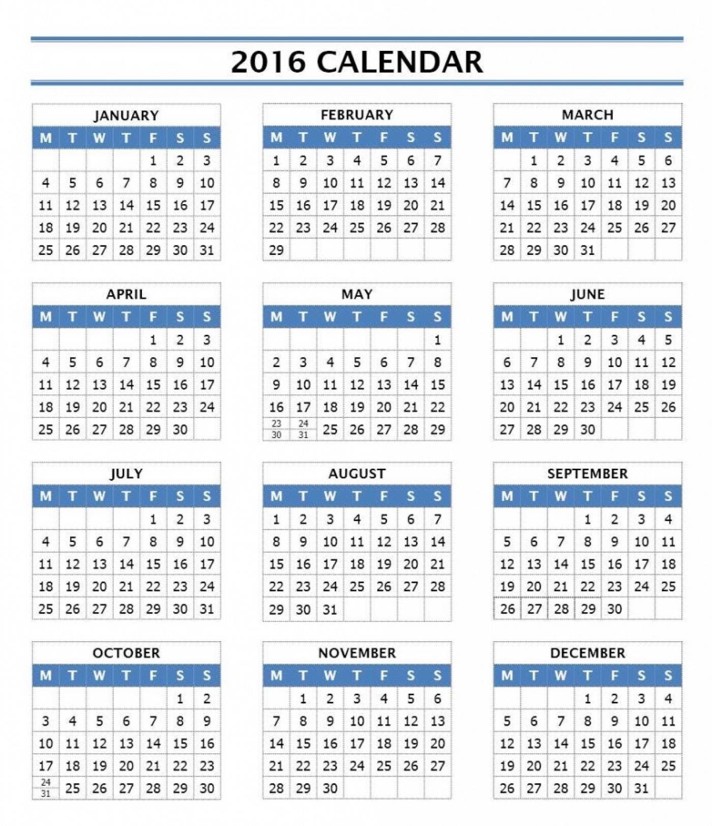 016 Year Calendar 883X1024 Template Ideas Microsoft Singular