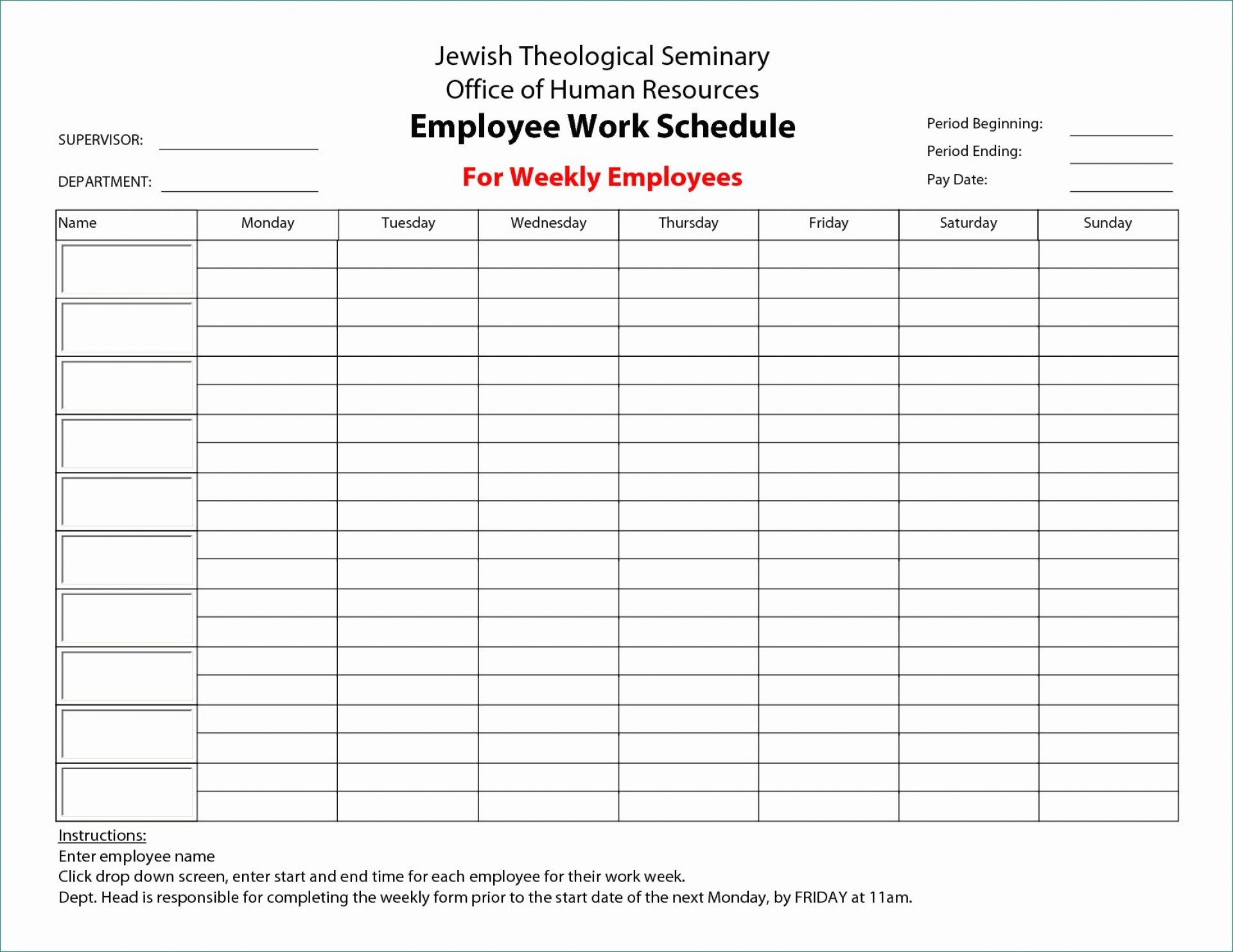 033 Template Ideas Weekly Hourly Schedule Printable Calendar