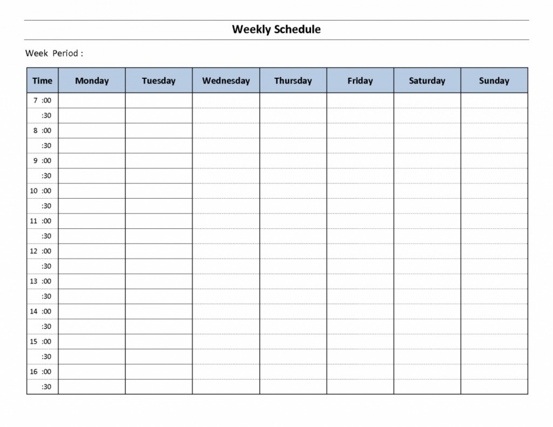 048 Template Weekly Classroom Schedule Example For Students