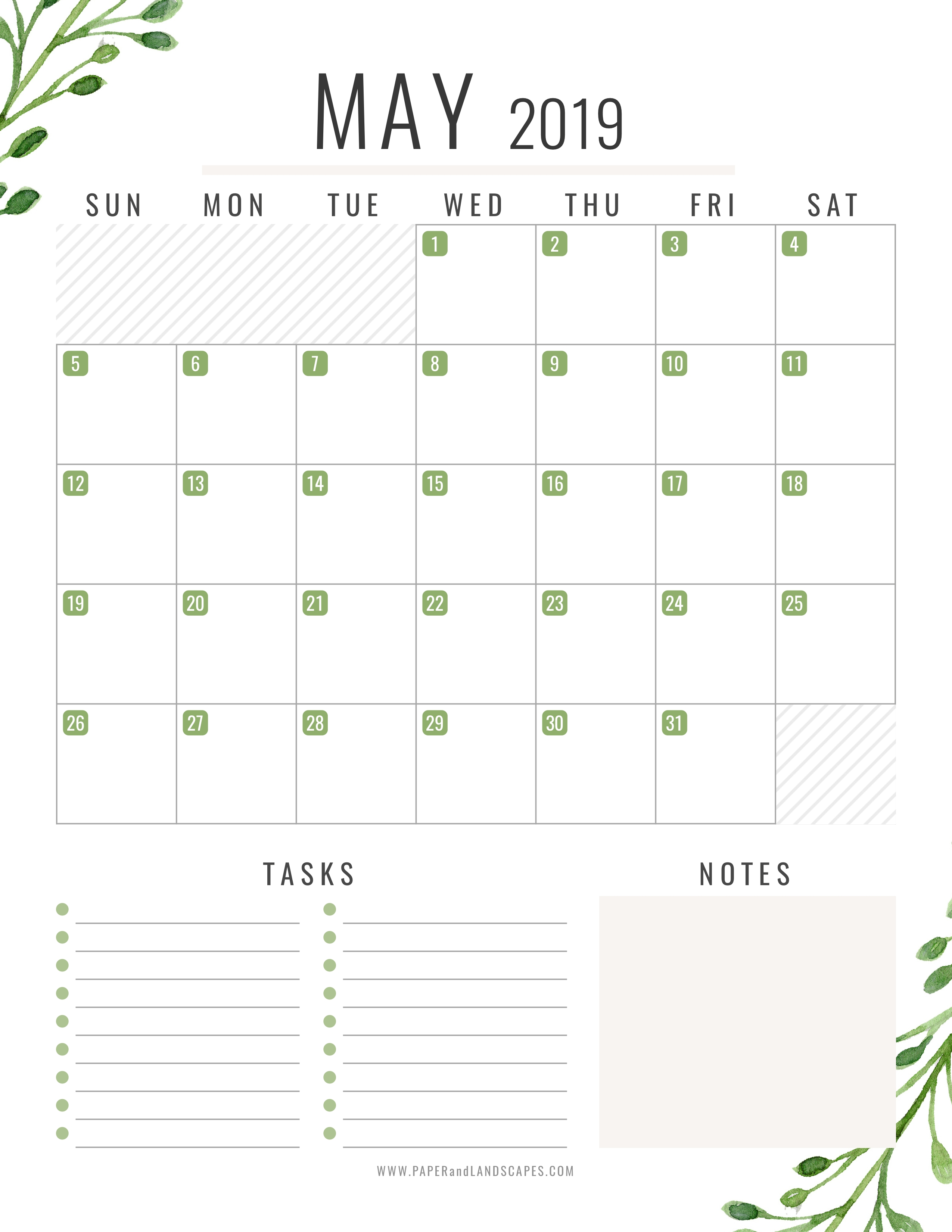 05 May 2019 - Free Printable Calendar - Paper And Landscapes
