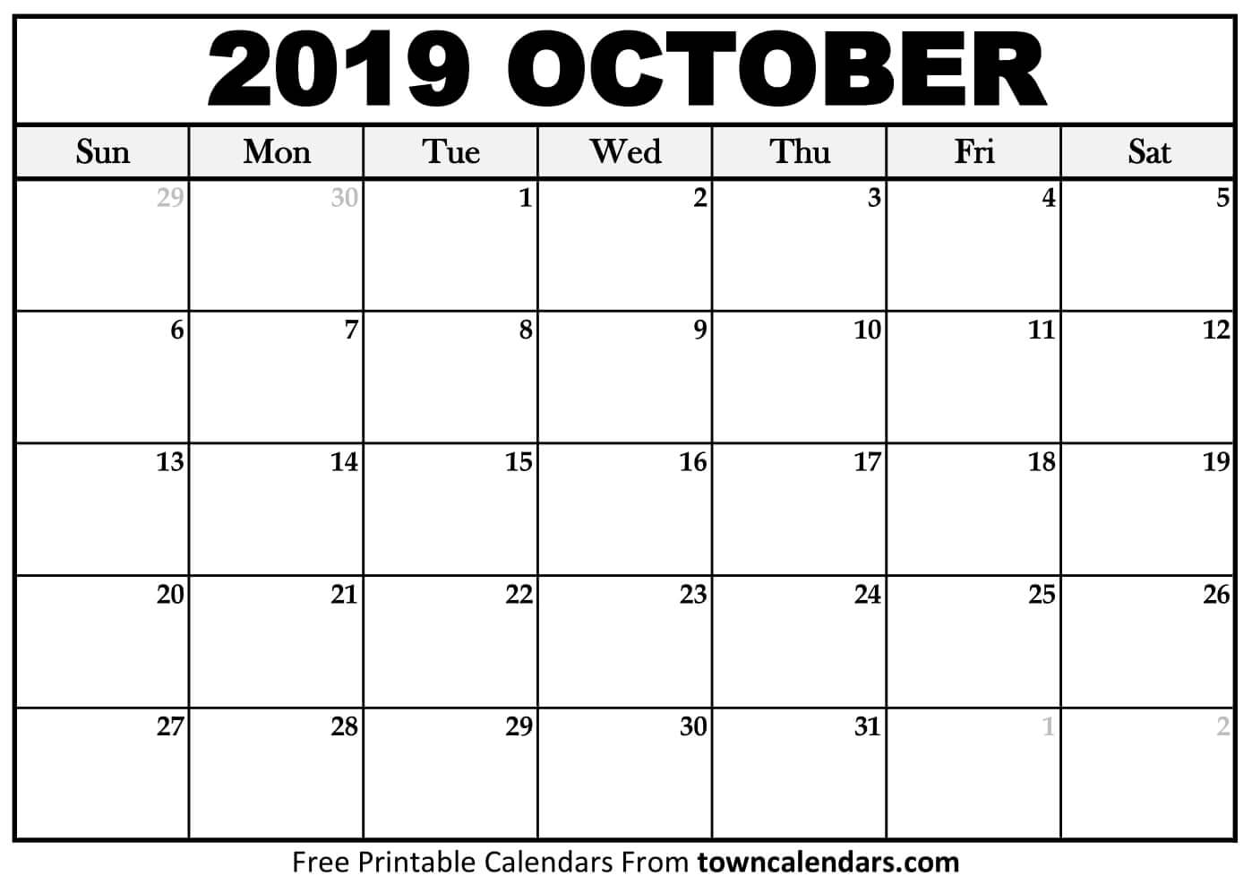 0Ctober 2019 Calendar | Printable Calendar Free