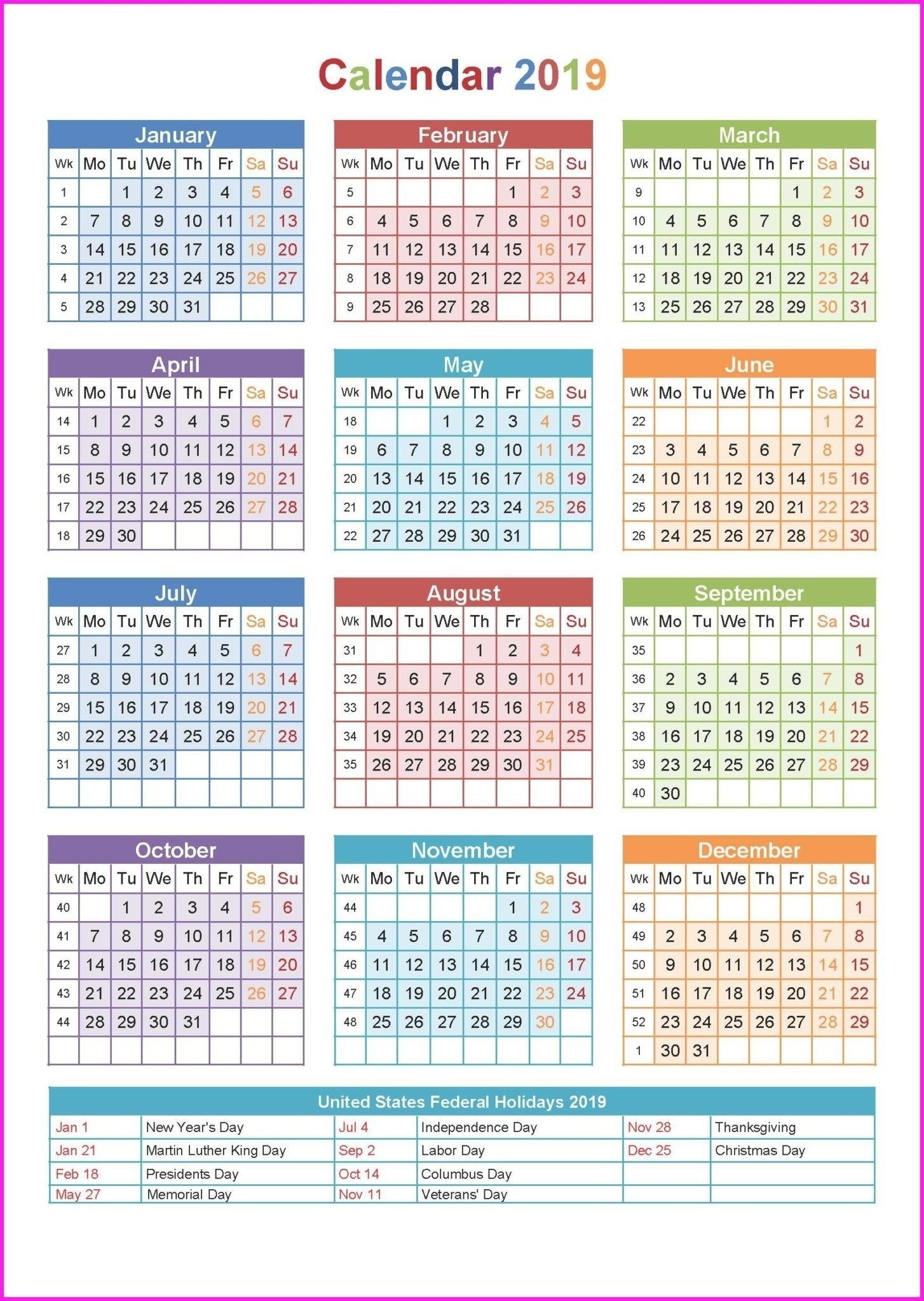 1 Page Calendar 2019-2020 With Major Holidays - Calendar