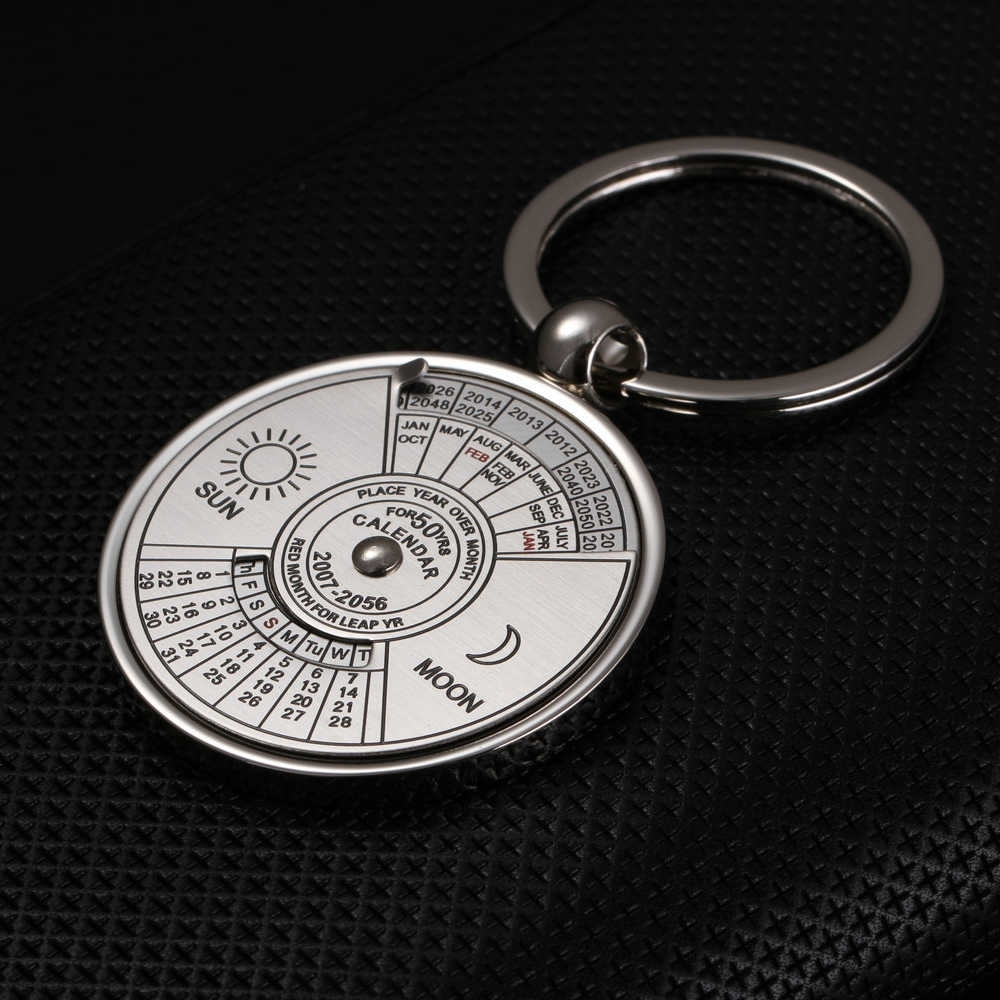 1 Pc Creative Gift Metal 50 Years Rotatable Perpetual Calendar Car Keychain  Key Chain Key Ring 5127