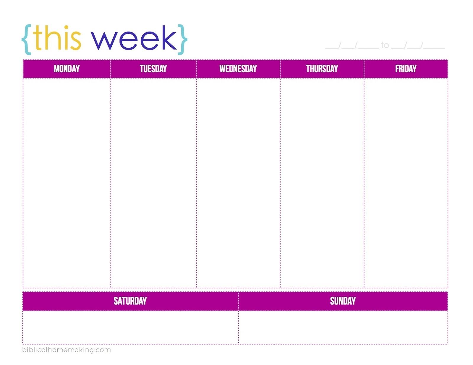 1 Week Blank Calendar Printable | Example Calendar Printable