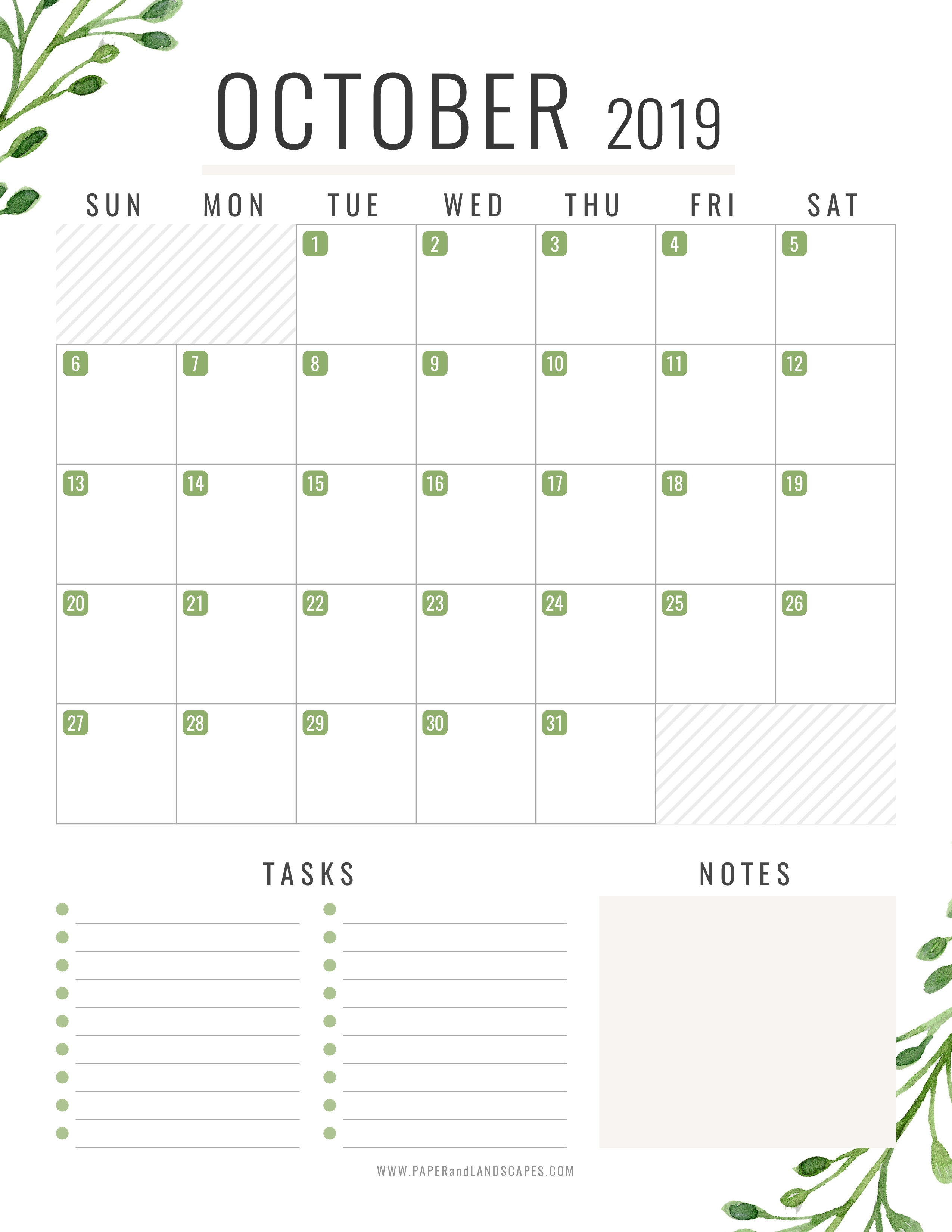 10 October 2019 - Free Printable Calendar - Paper And