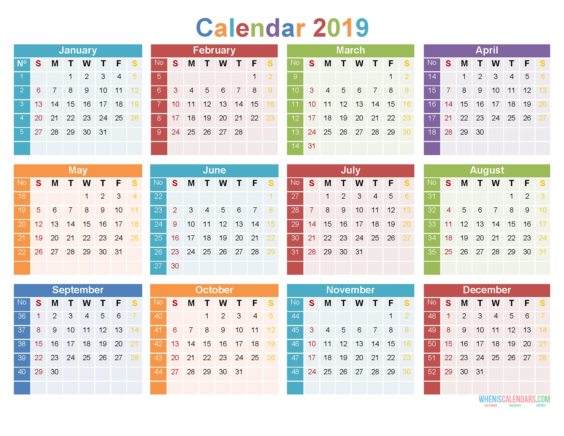 12 Month 2019 Calendar Printable On 1 Page [Us Edition