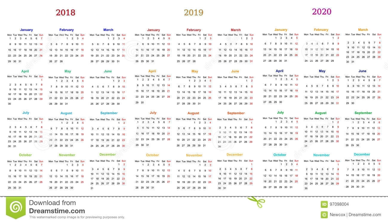 12 Month Calendar Design 2018-2019-2020 Stock Vector