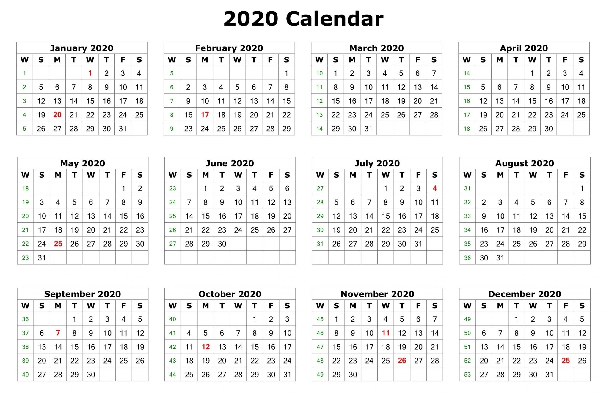 12 Months 2020 Printable Calendar Template - Free Printable