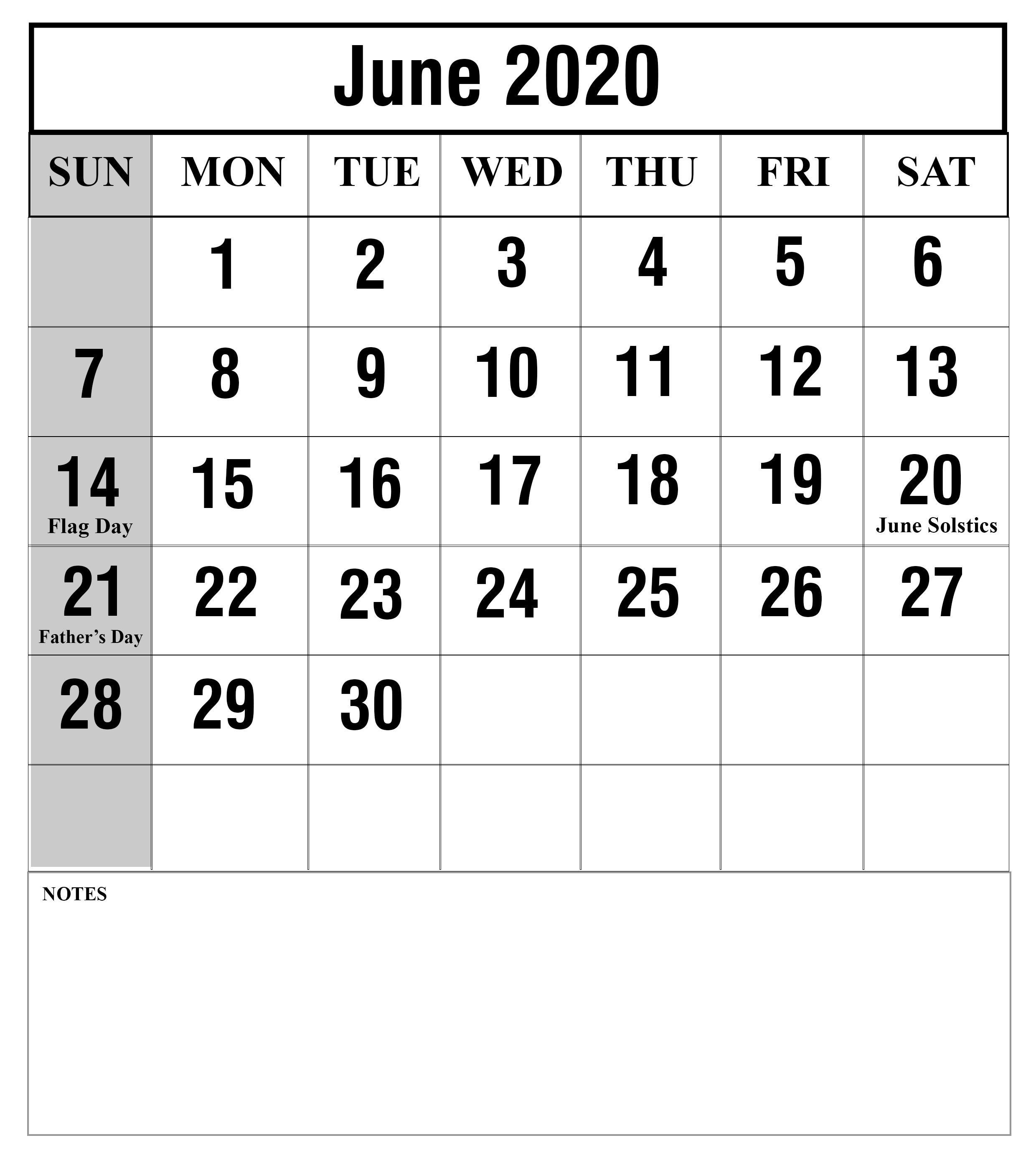 15+ June 2020 Printable Calendar Free To Customize