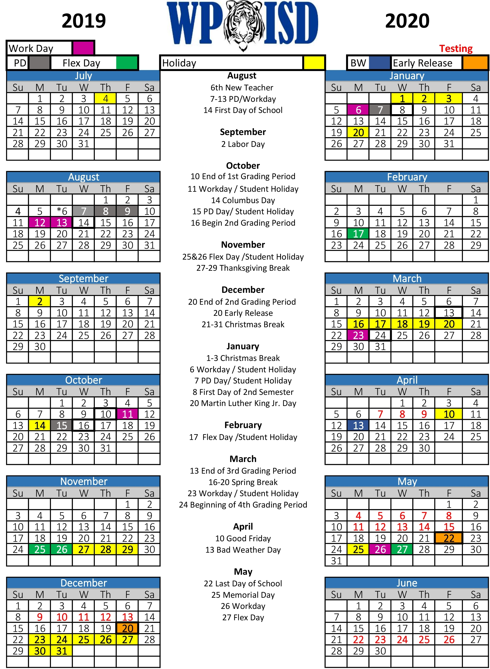 19-20 District Calendar
