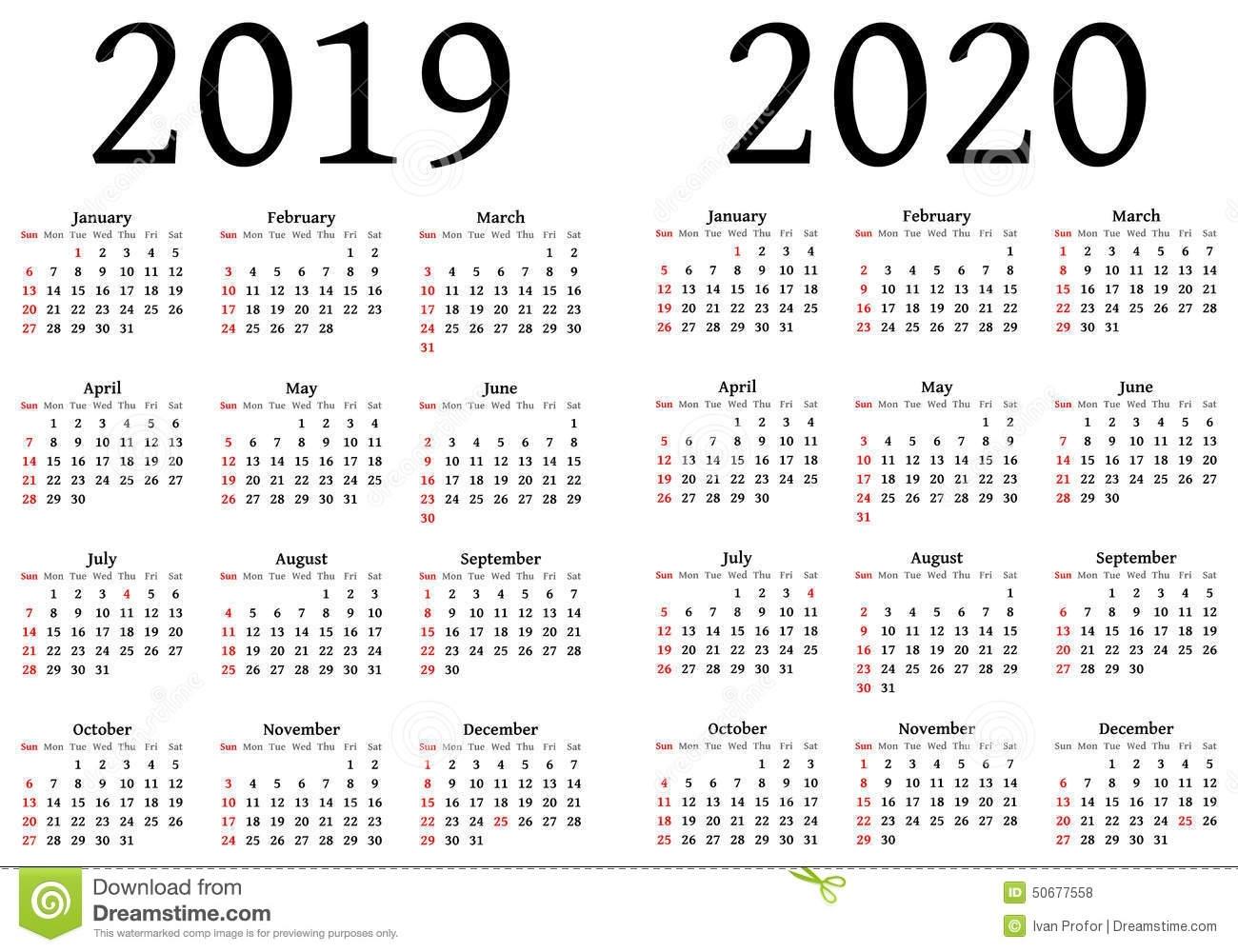 20 Beautiful 2020 Year Calendar