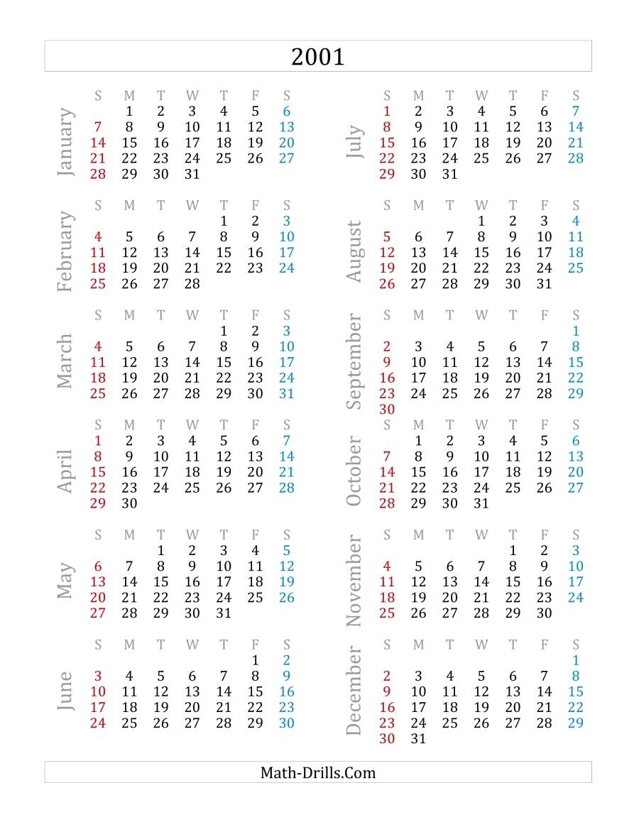 2001 Yearly Calendar (A)