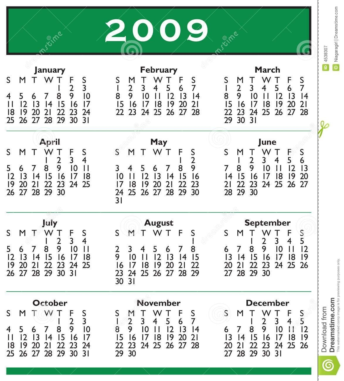 2009 Calendar Full Year Stock Vector. Illustration Of Bars