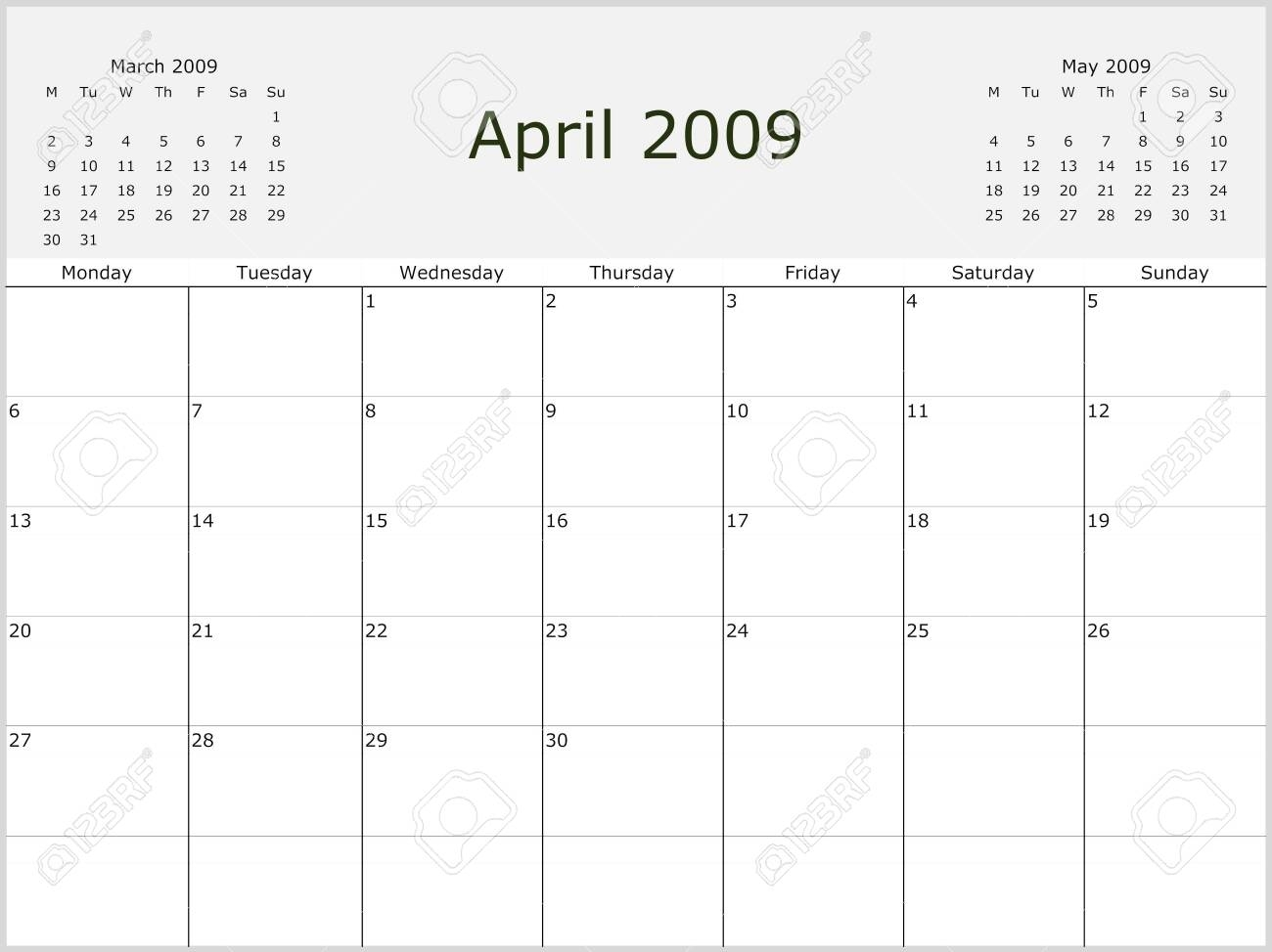 2009 Year Monthly Calendar With Previous And Next Months. Start..
