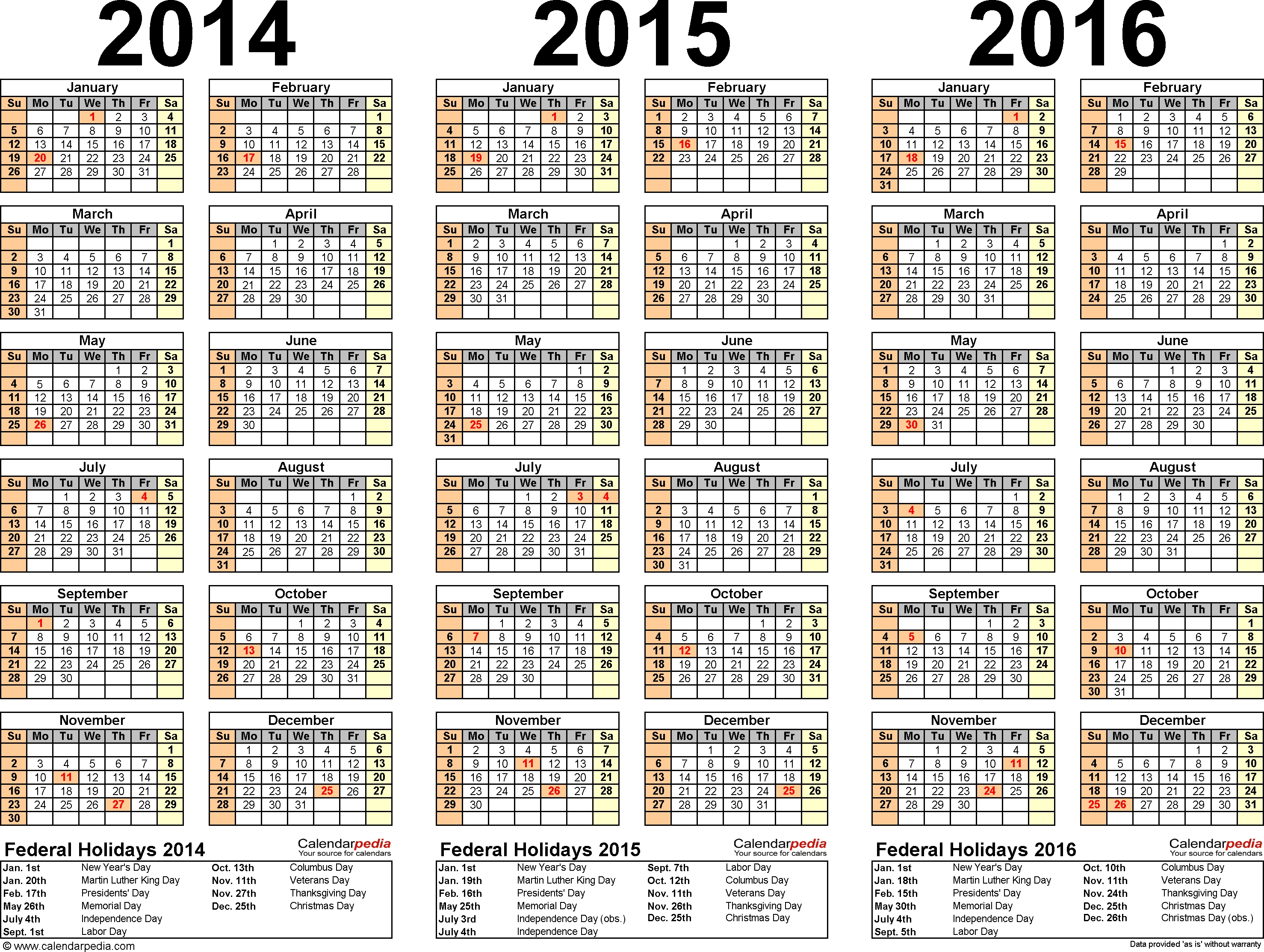 2014-2016 Three Year Calendar - Free Printable Pdf Templates