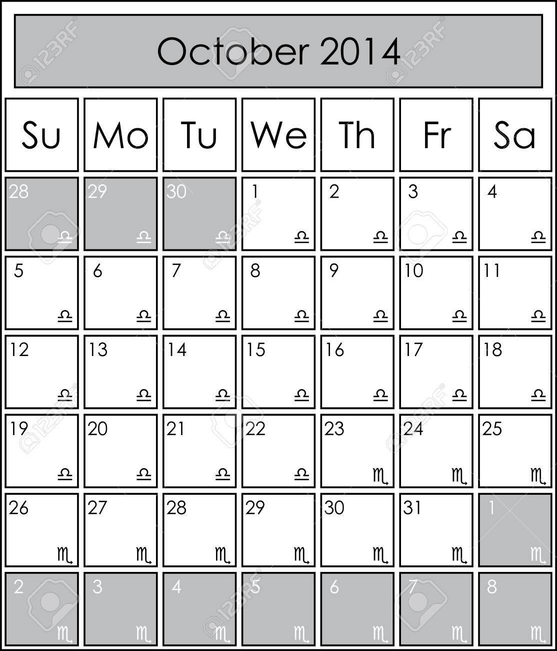 2014 Calendar Monthly, October, With Zodiac Signs