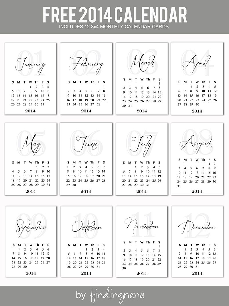 2014 Monthly Calendar Cards #projectlife | Printables