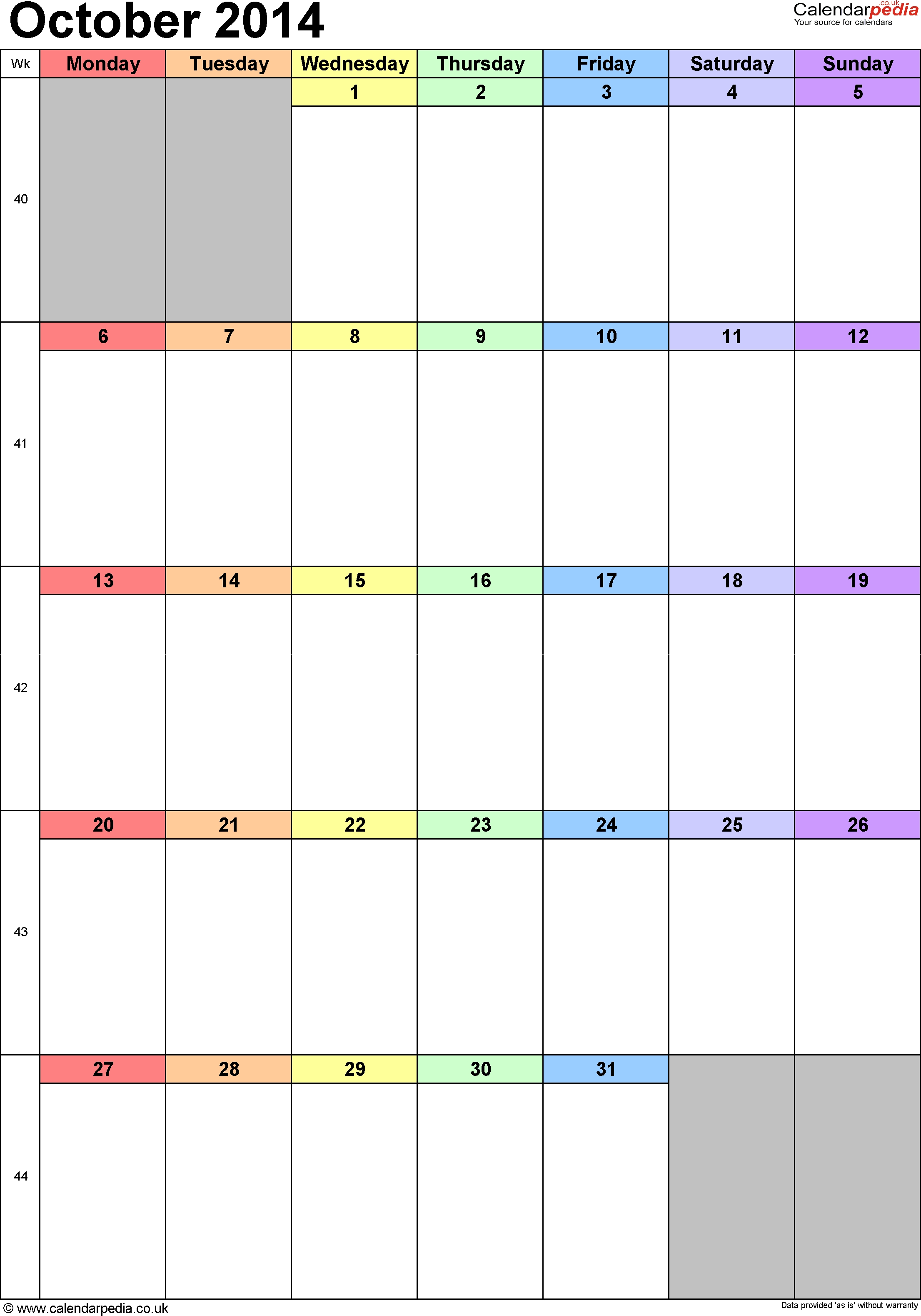 2014 Monthly Calendar With Uk Holidays