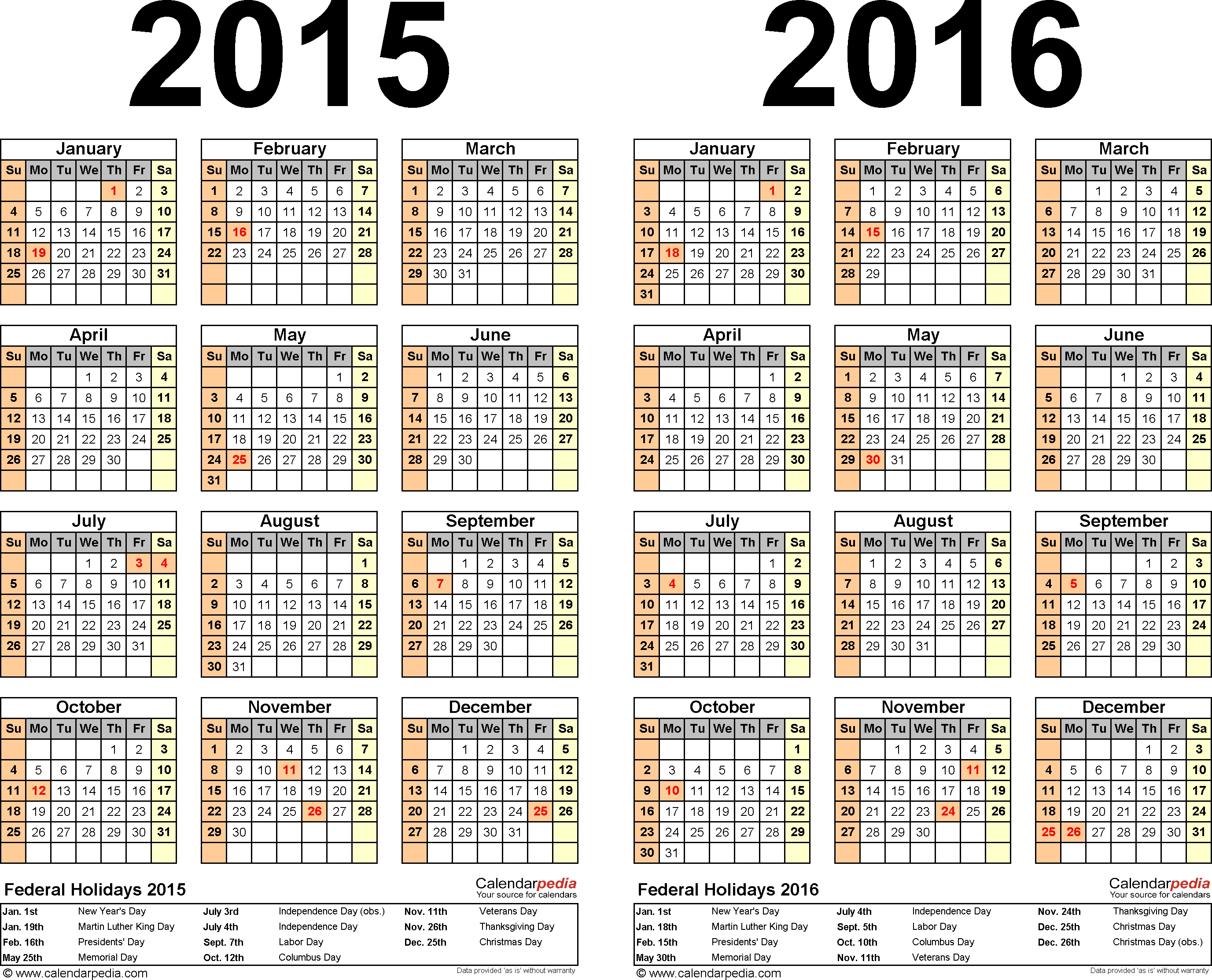 2015-2016 Two Year Calendar - Free Printable Excel Templates