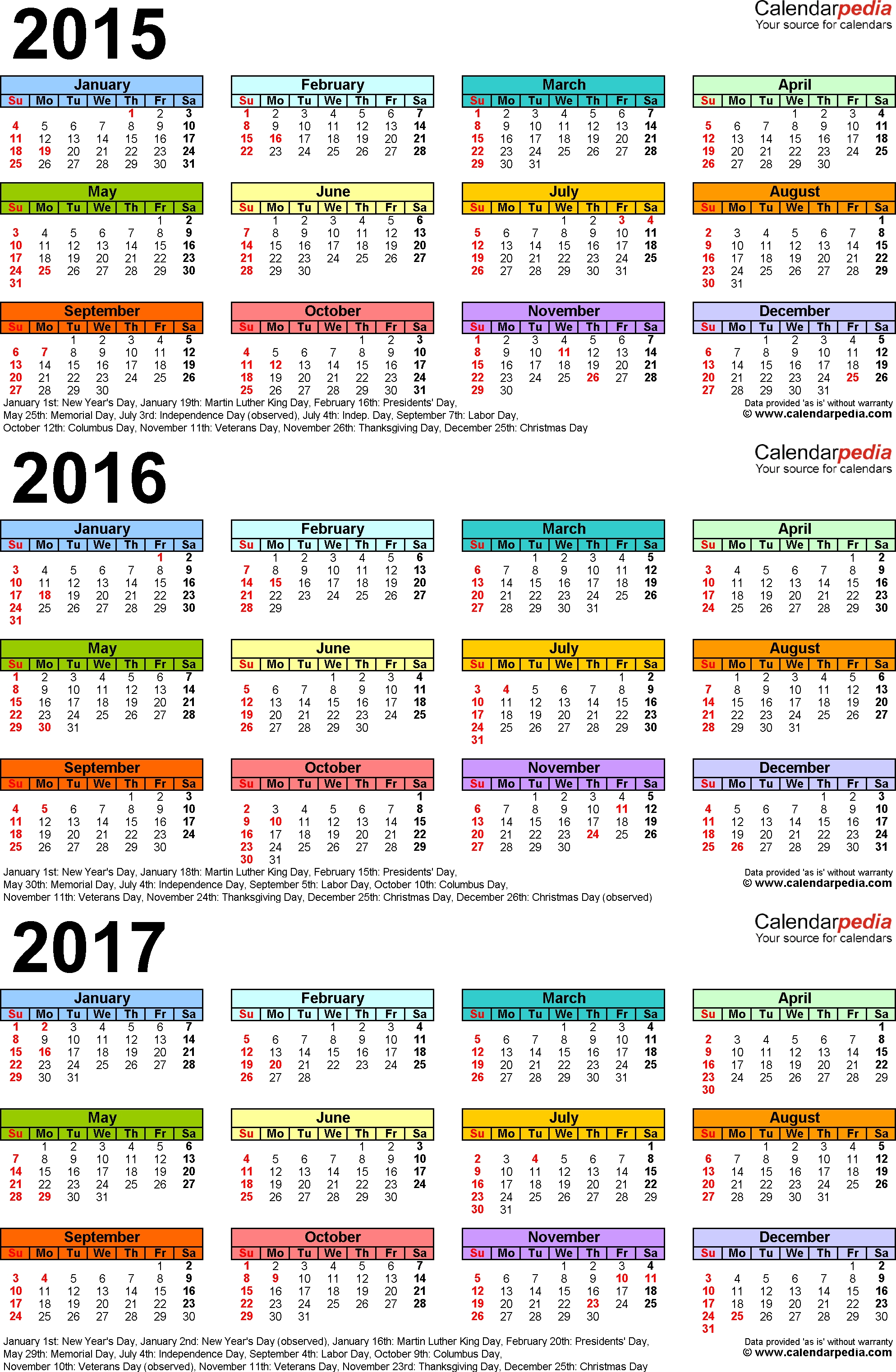 2015-2017 Three Year Calendar - Free Printable Pdf Templates