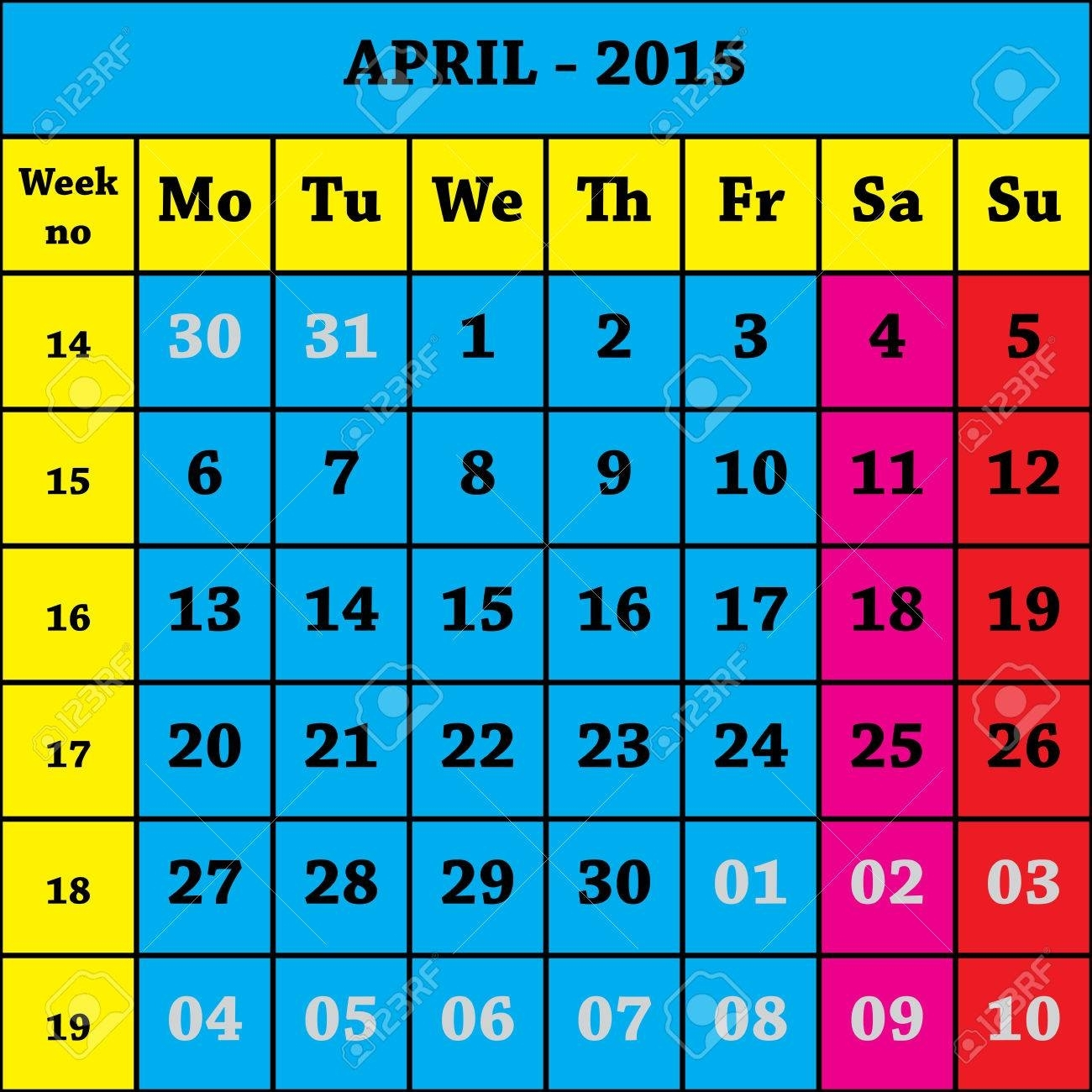 2015 April Calendar Iso 8601 With Week Number