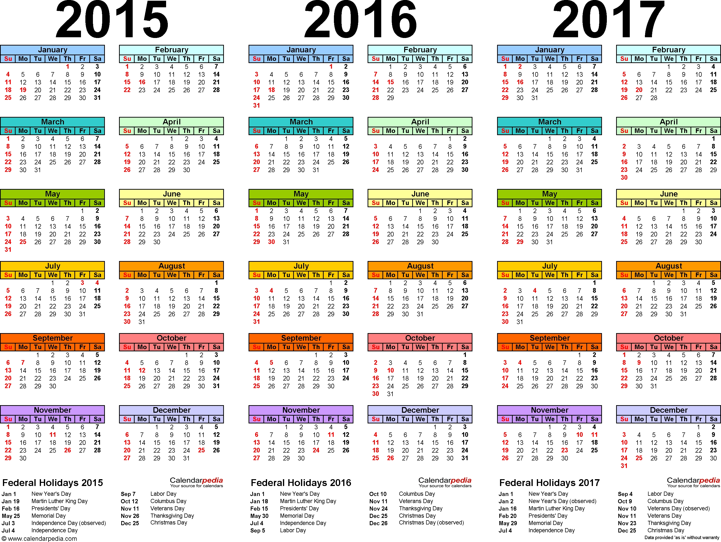 2015 Calendars | Template 1: Pdf Template For Three Year