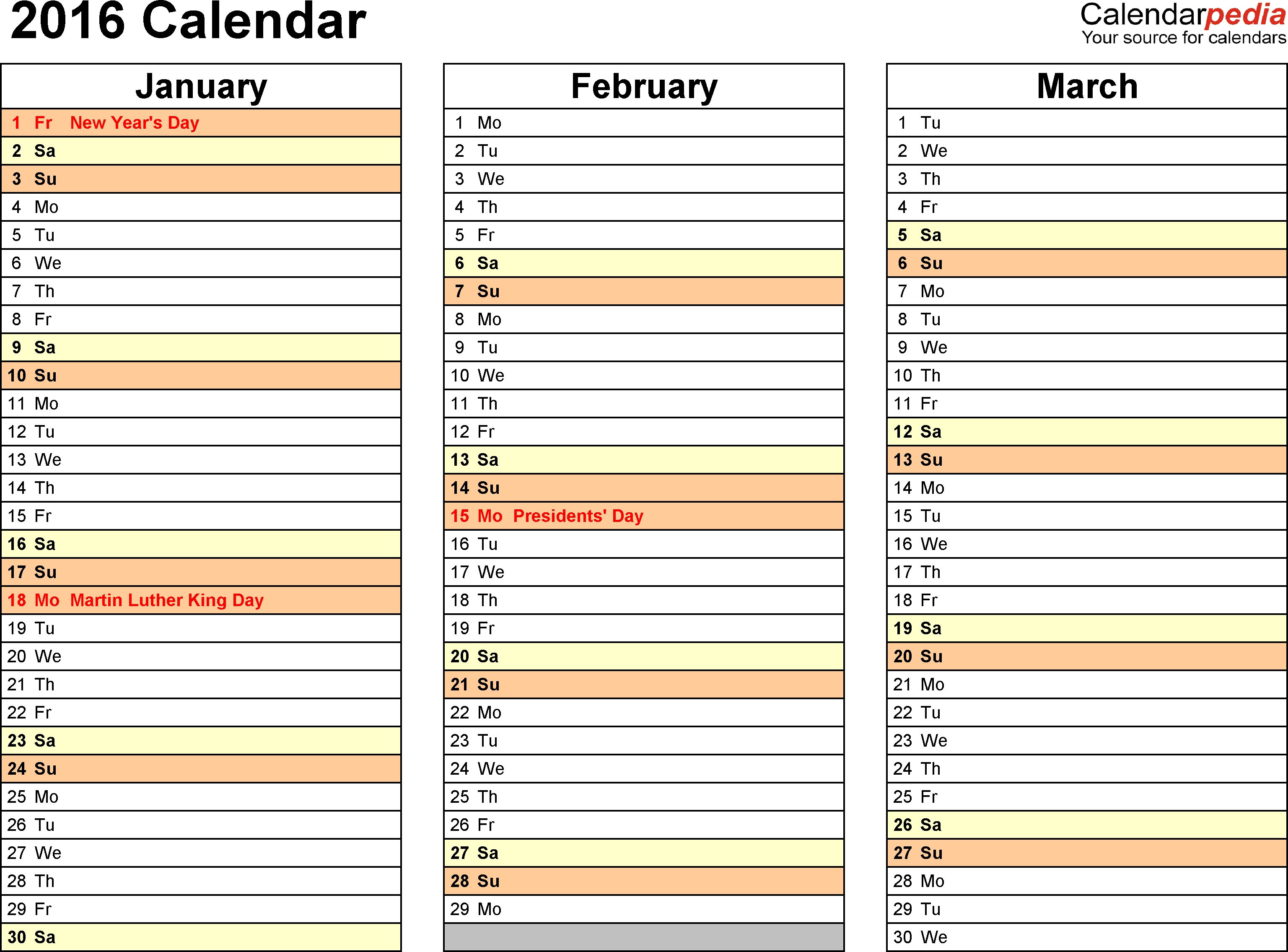2016 Calendar - 16 Free Printable Word Calendar Templates