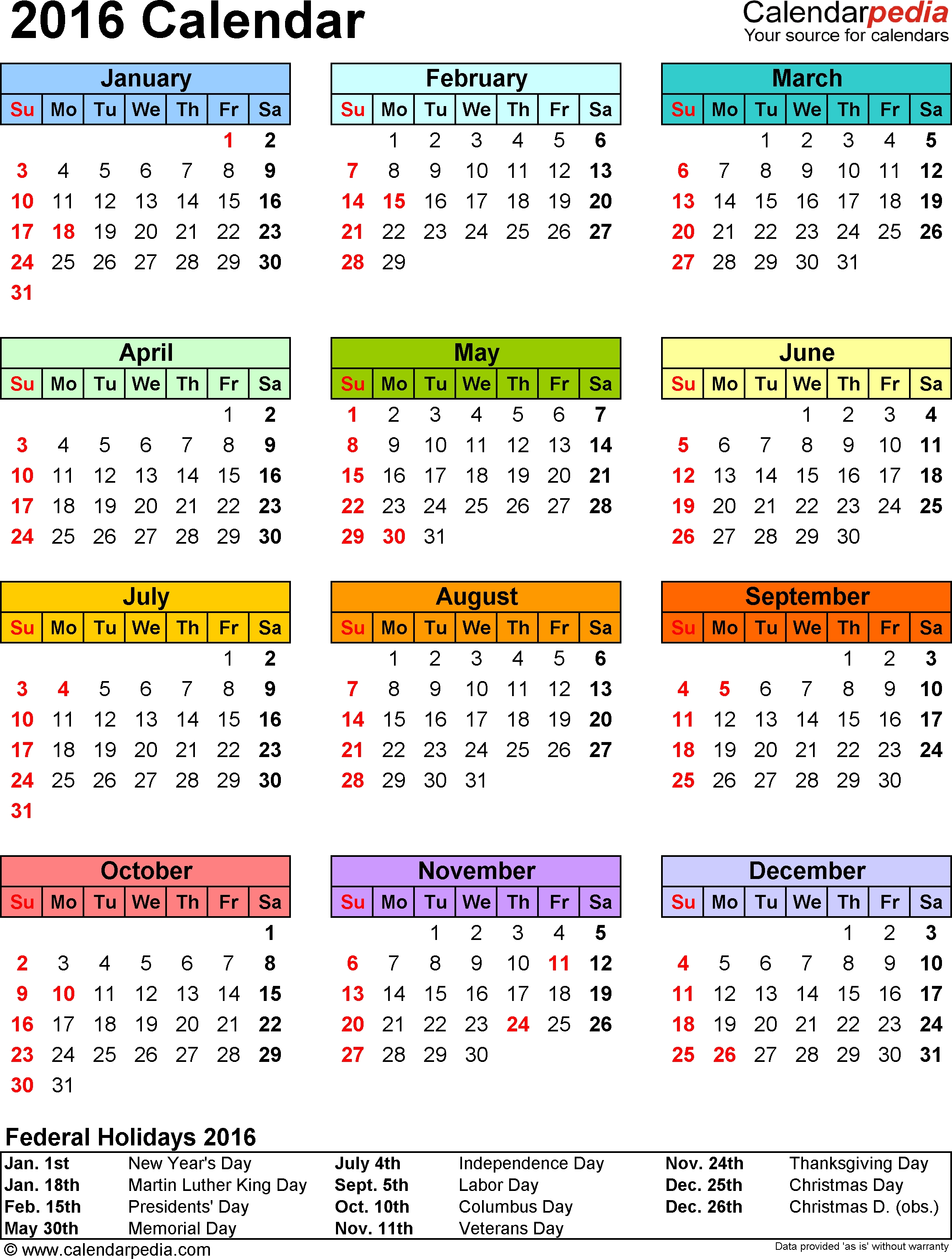2016 Calendar - Download 16 Free Printable Excel Templates