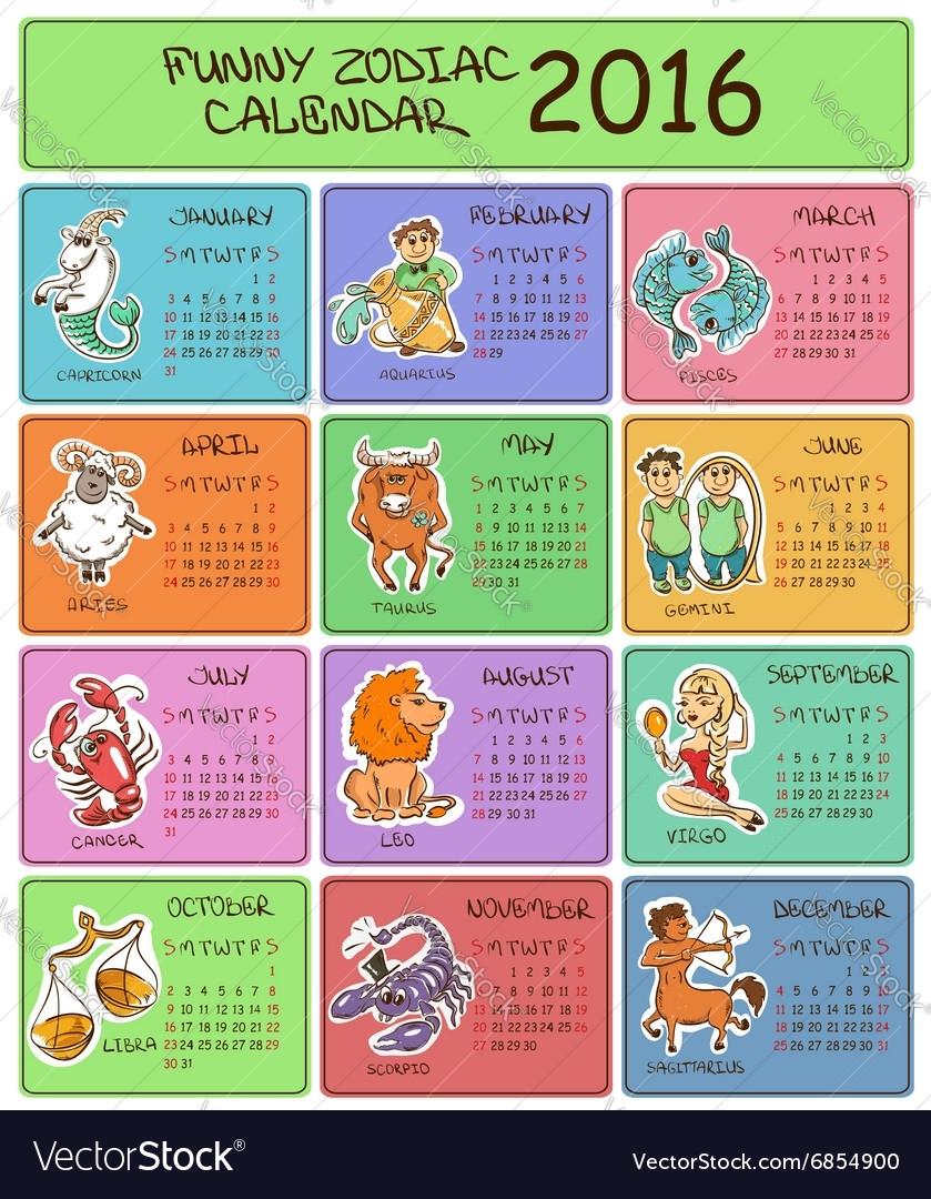 2016 Calendar Template With Zodiac Signs
