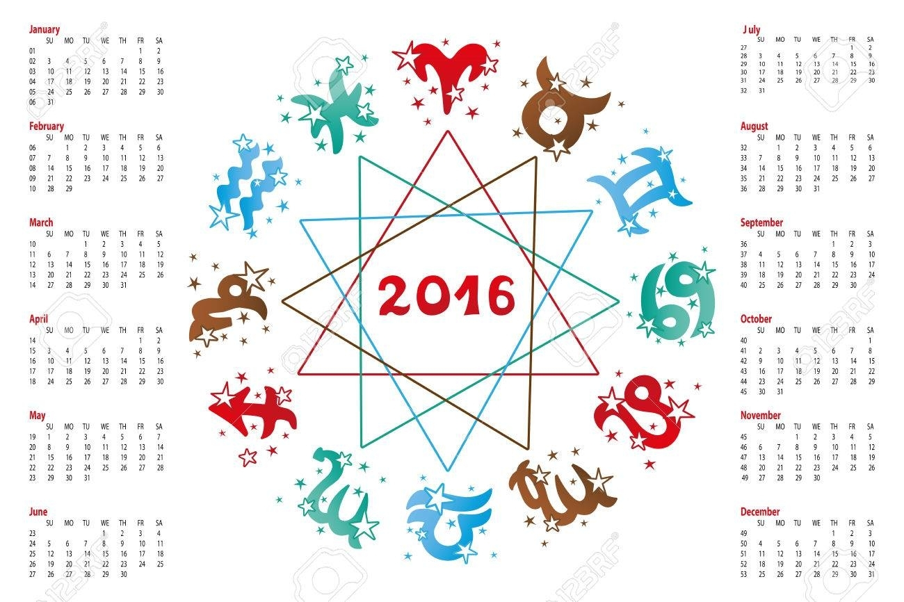 2016 New Year Calendar.horoscope Circle With Zodiac Sign.elements,stars..