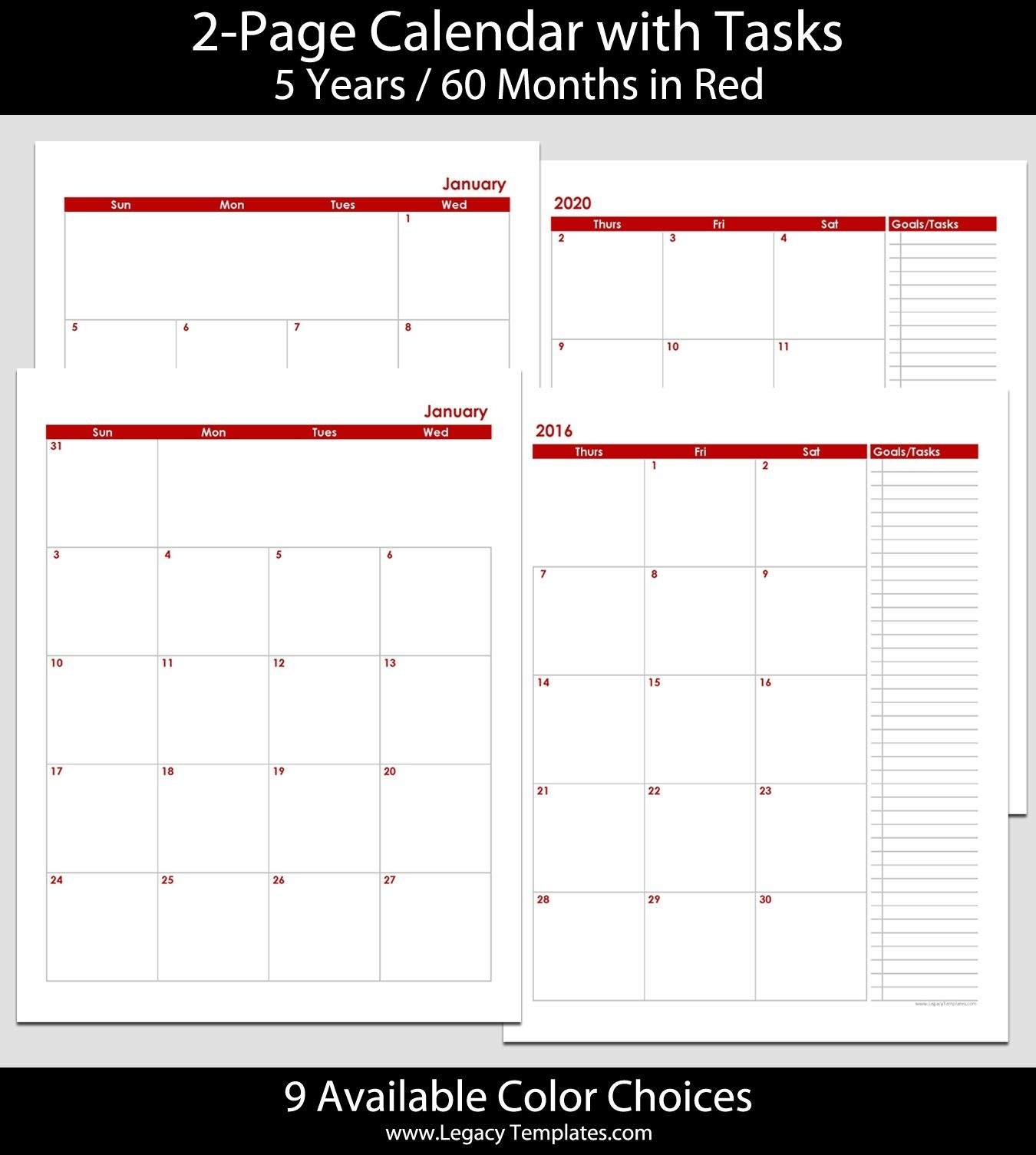 2016 Thru 2020 60-Month 2-Page Calendar – 8 1/2″ X 11″. The