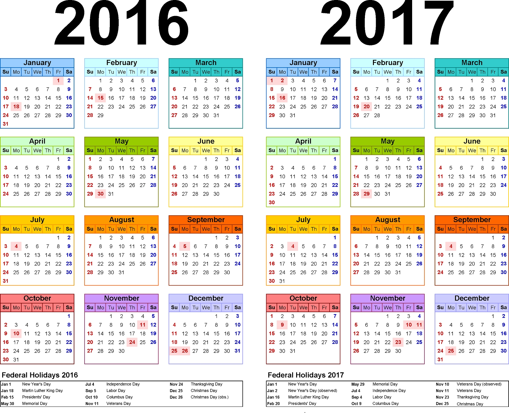 2016 Yearly Calendars With Holidays | Activity Shelter