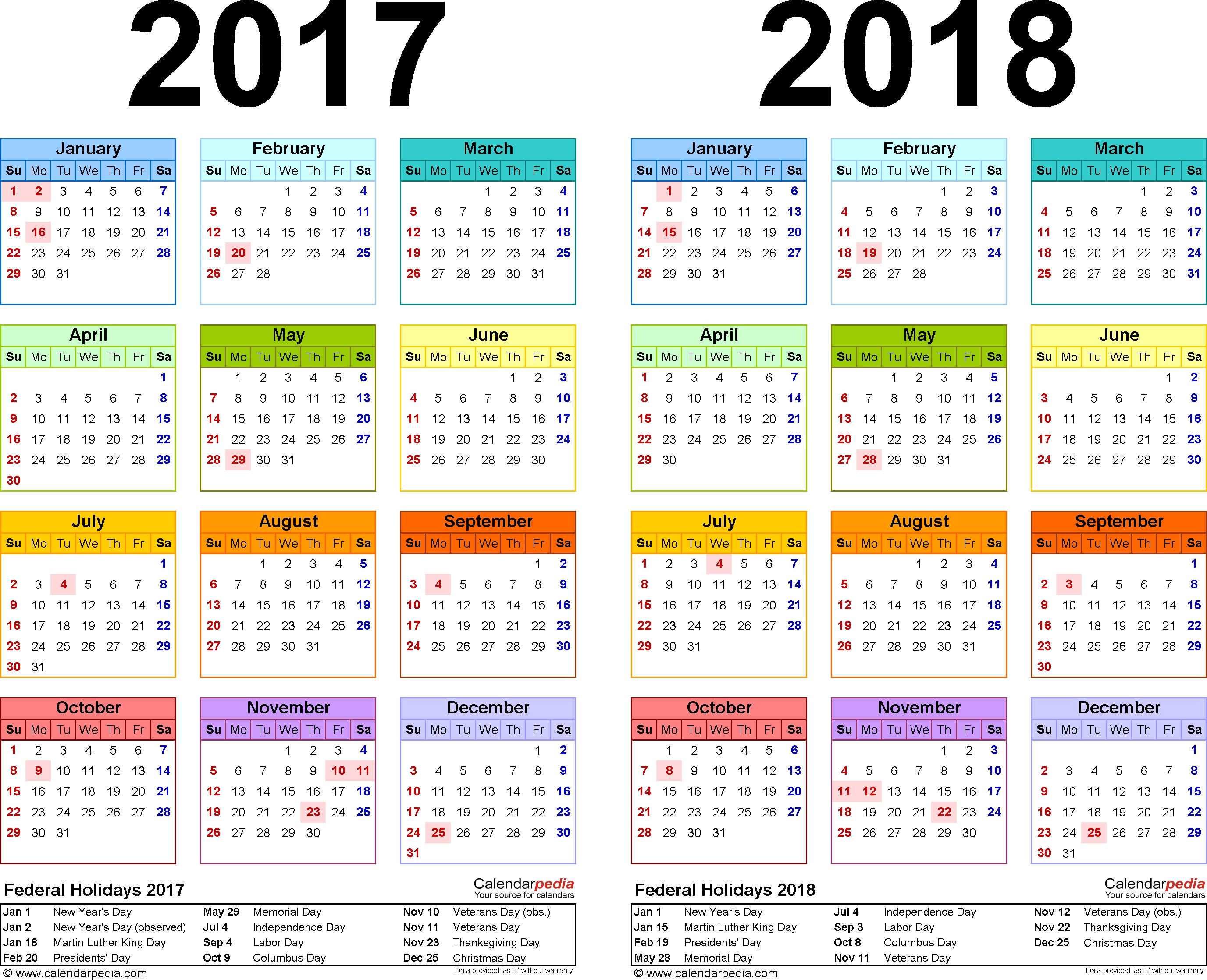 2017-2018 Two Year Calendar - Free Printable Excel Templates