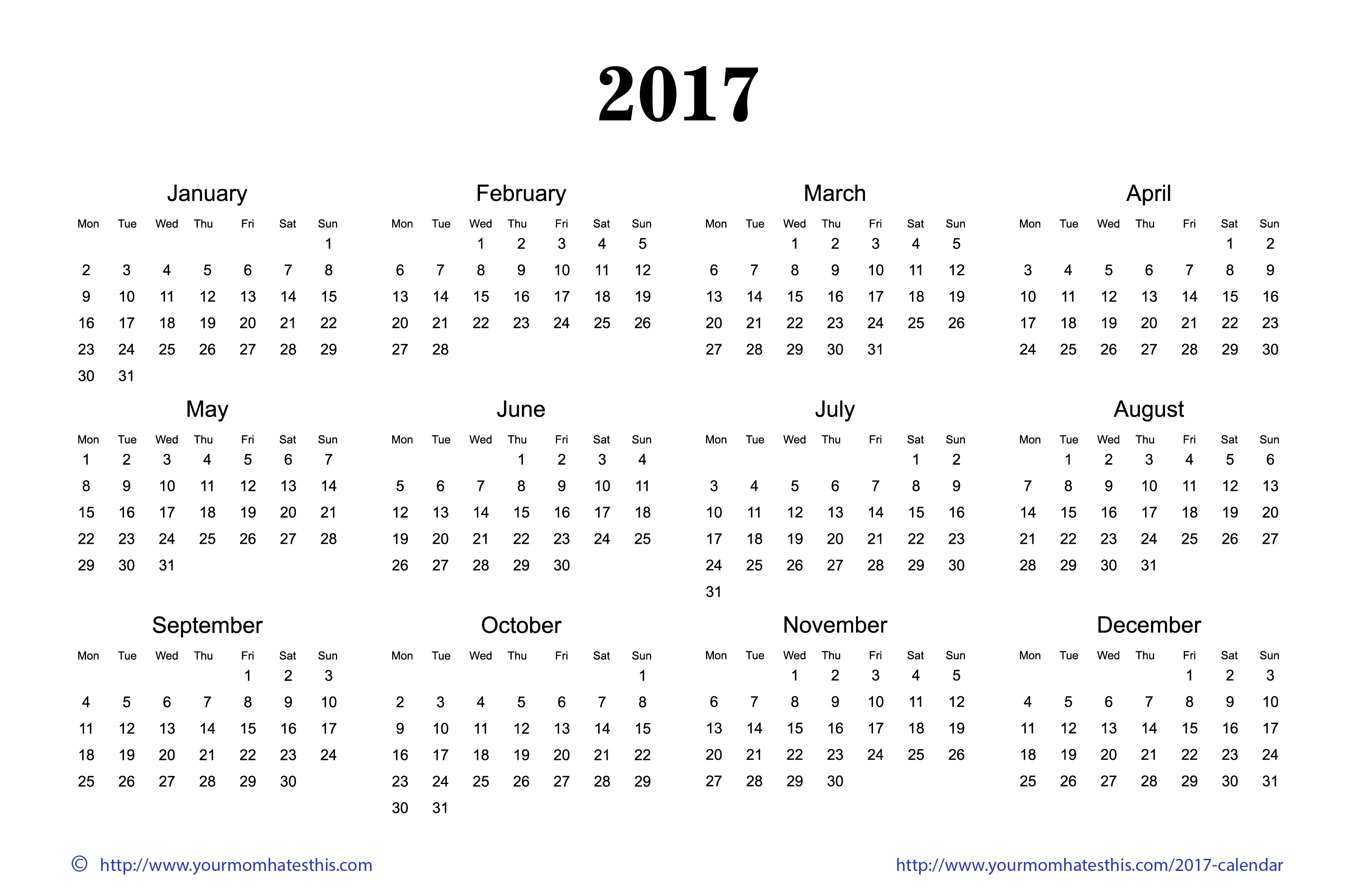 2017 Calendar Printable Images