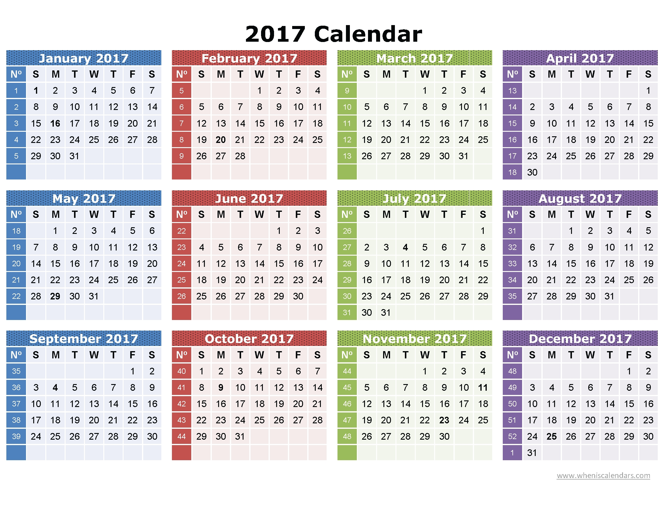 2017 Calendar Printable One Page | Download: Image (Full