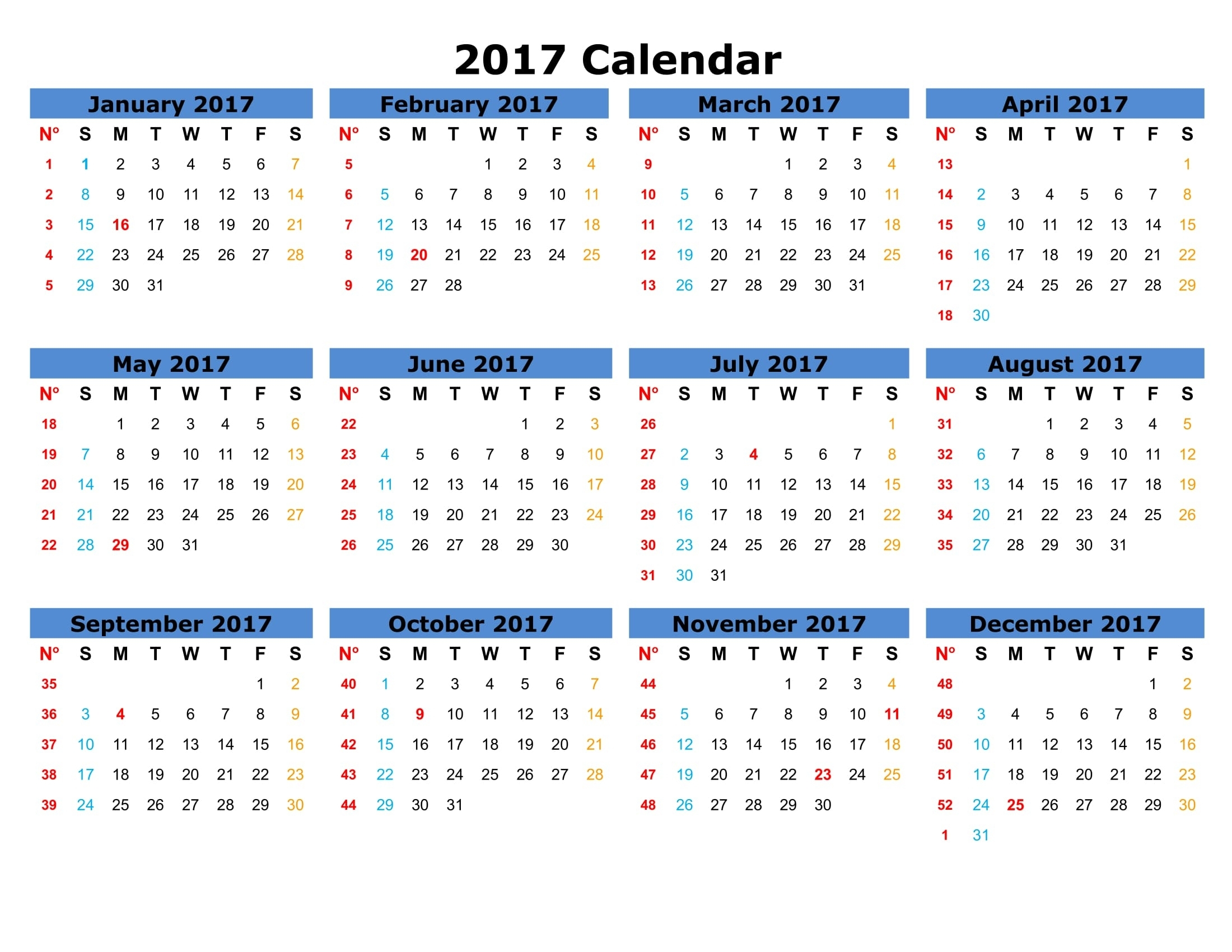 2017 Calendar Printable Templates - Calendar Office - 2019
