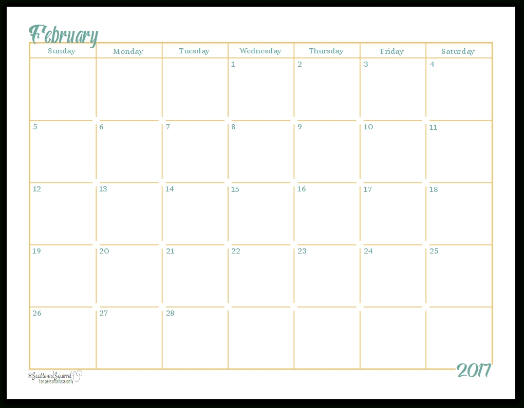 2017 Full-Size Monthly Calendar Printables Are Here!!!!!
