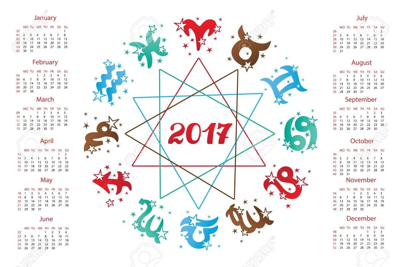 2017 New Year Calendar.horoscope Circle With Zodiac Sign.elements,stars..