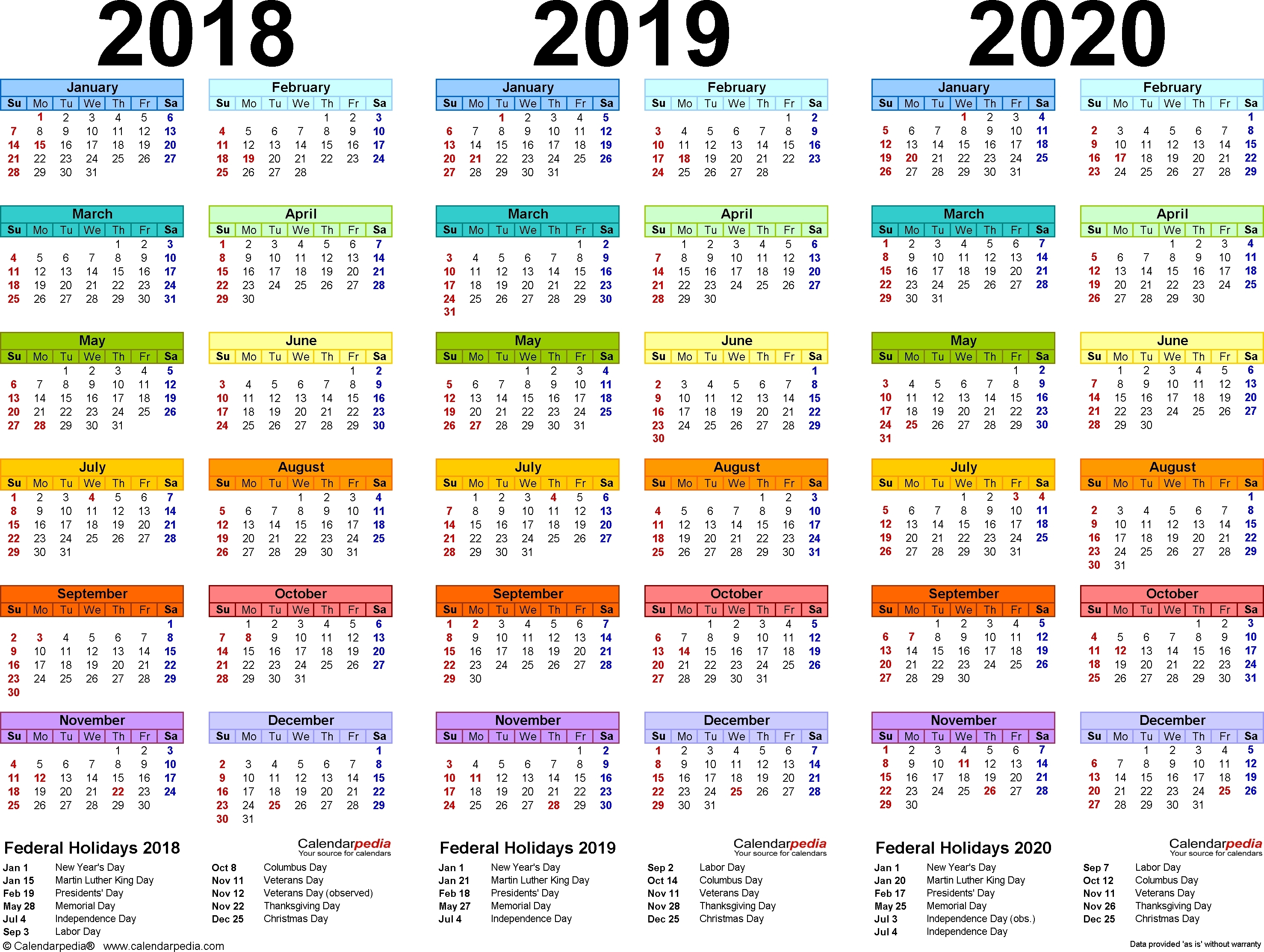 2018/2019/2020 Calendar – 4 Three-Year Printable Pdf