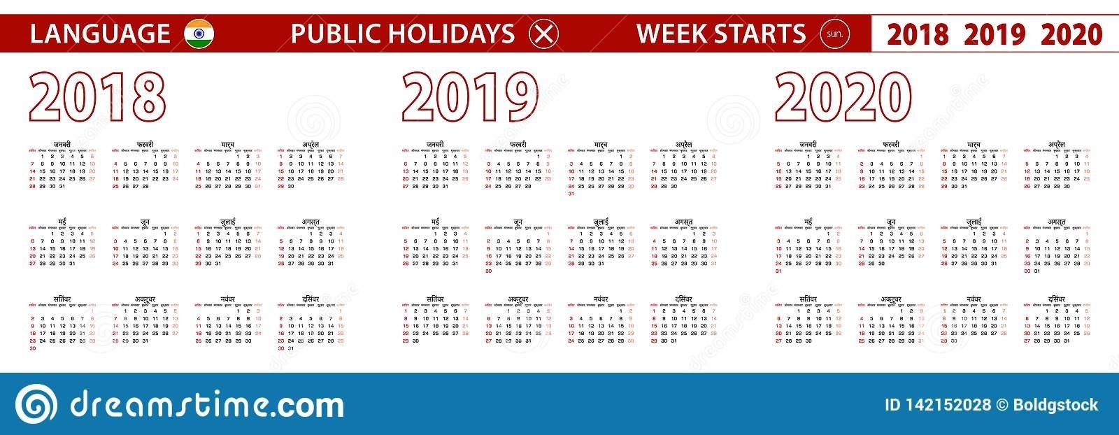 2018, 2019, 2020 Year Vector Calendar In Hindi Language