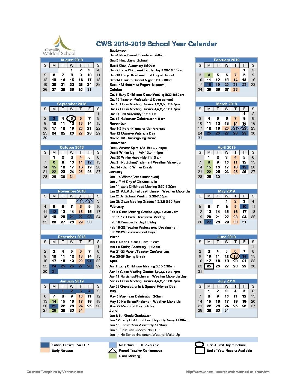 2018-2019 School Year Calendar - Corvallis Waldorf School