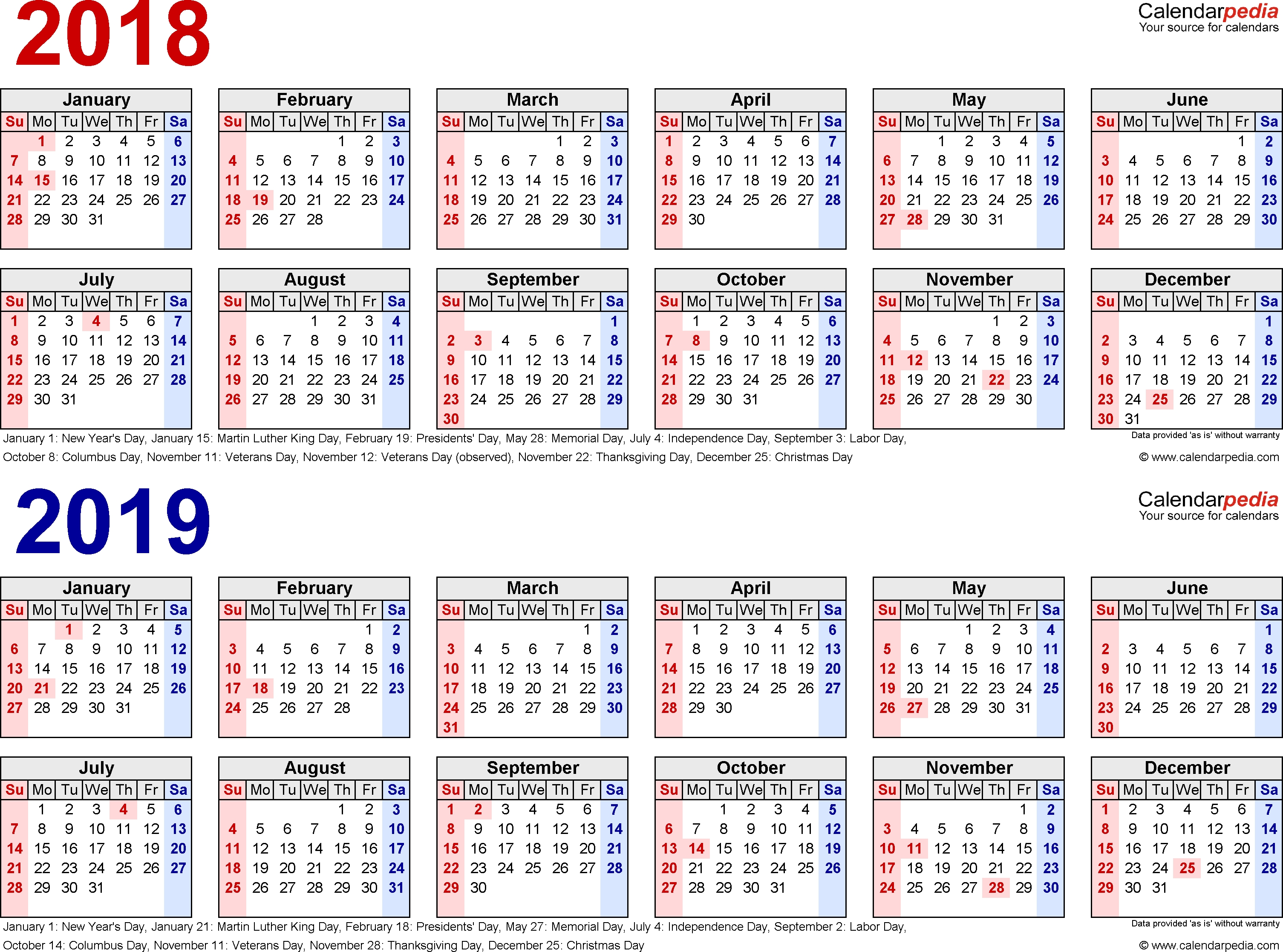 2018-2019 Two Year Calendar - Free Printable Excel Templates