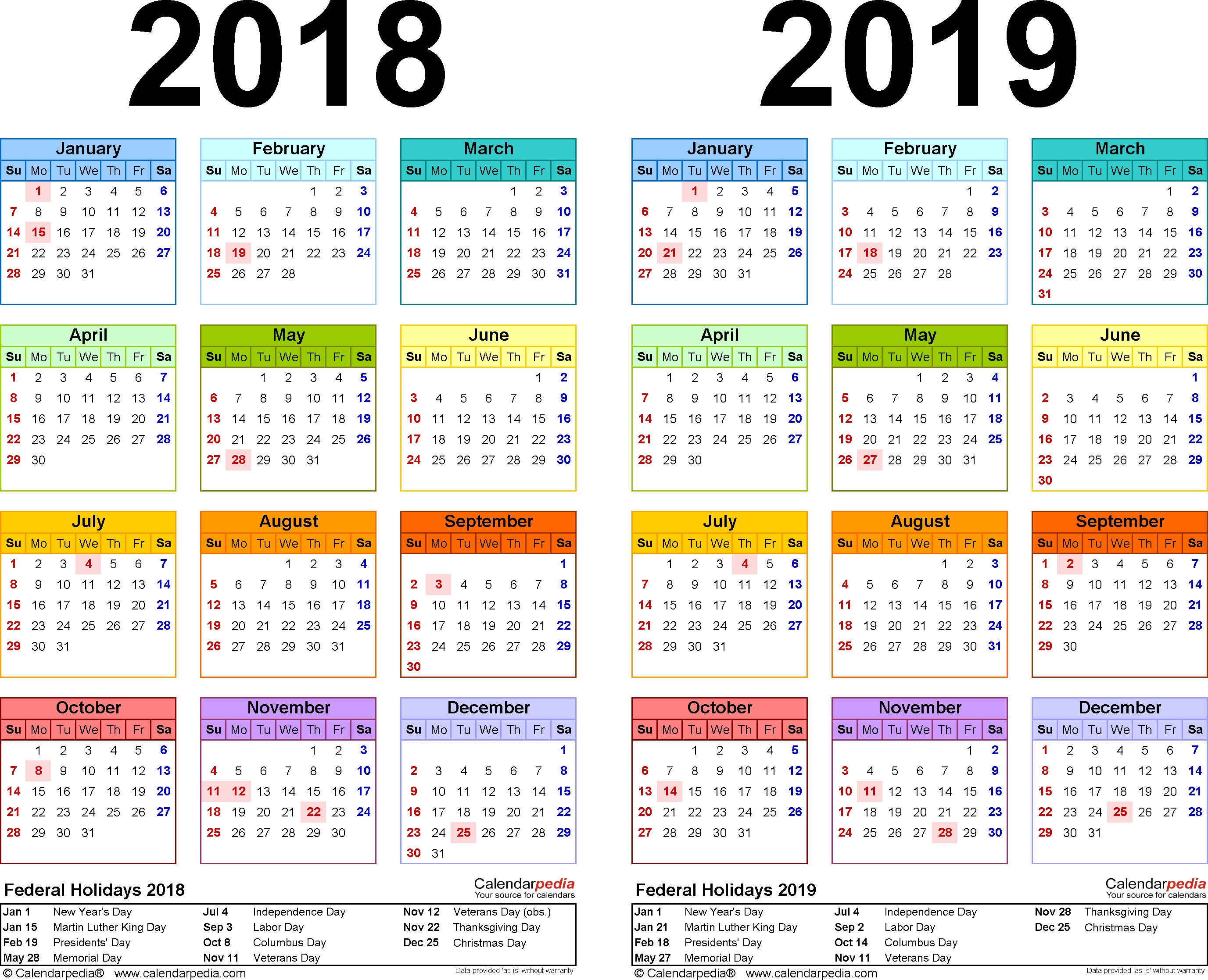 2018-2019 Two Year Calendar - Free Printable Pdf Templates