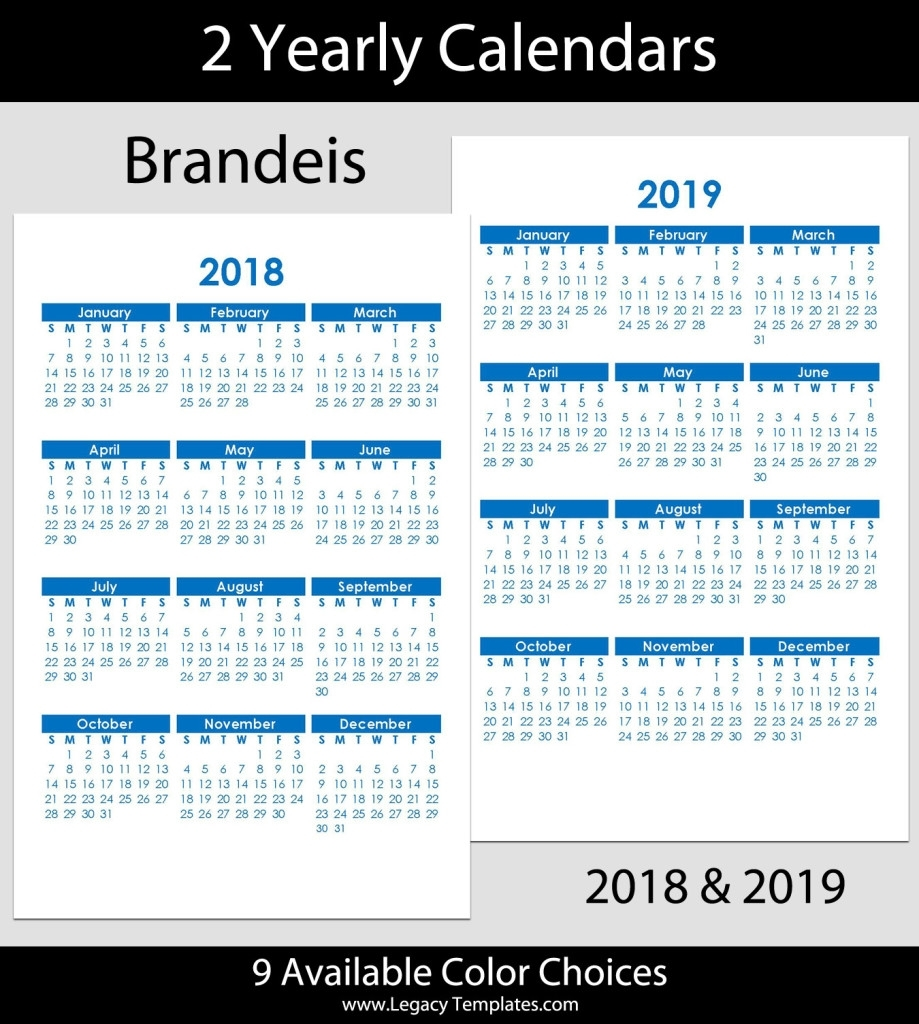 2018 & 2019 Yearly Calendar – 5.5 X 8.5 | Legacy Templates