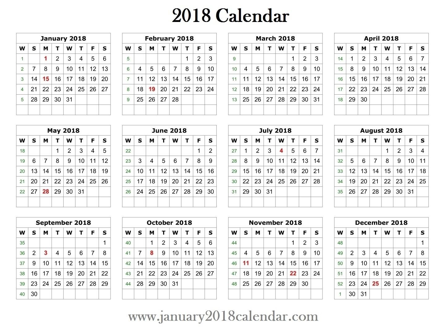 2018 Blank Printable Calendar At Small Calendar Template