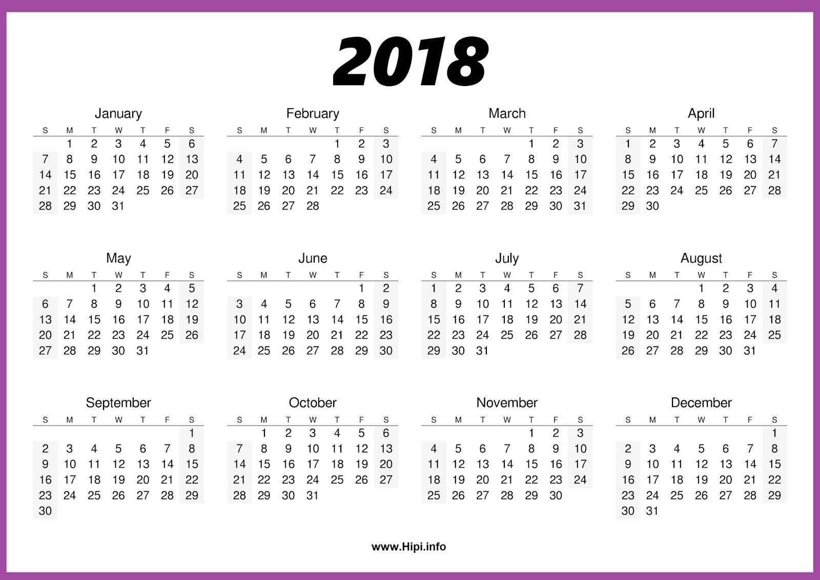 2018 Calendar One Page #calendar | Blank Calendar Template