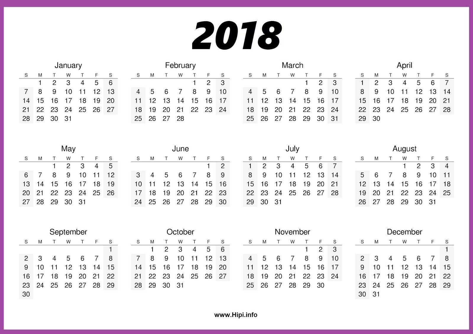 2018 Calendar One Page #calendar   Blank Calendar Template