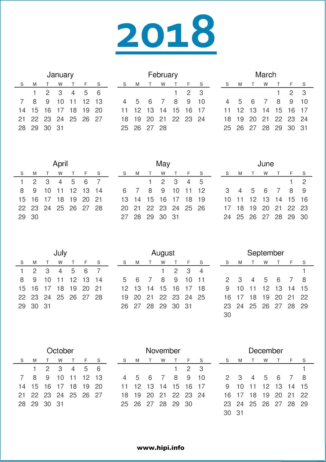 2018 Calendar One Page #calendar   Printable Calendar Pages