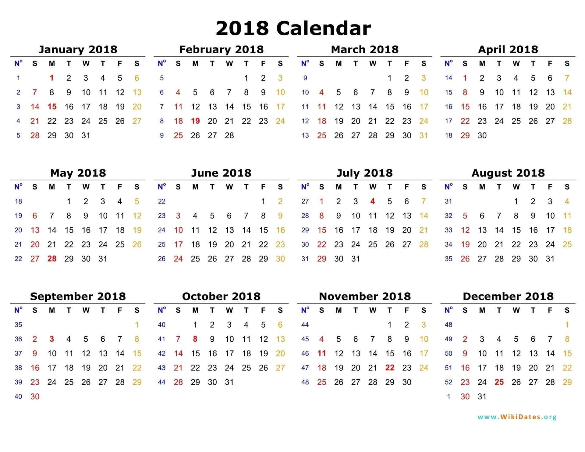 2018 Calendar Online #calendar #online | Printable Calendar